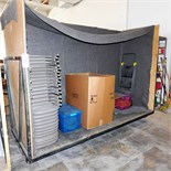"""STEEL-FRAMED CART, WOOD-SKINNED, 10'W X 61""""H X 45""""D ON HEAVY-DUTY CASTERS (CONTENTS NOT INCLUDED)"""