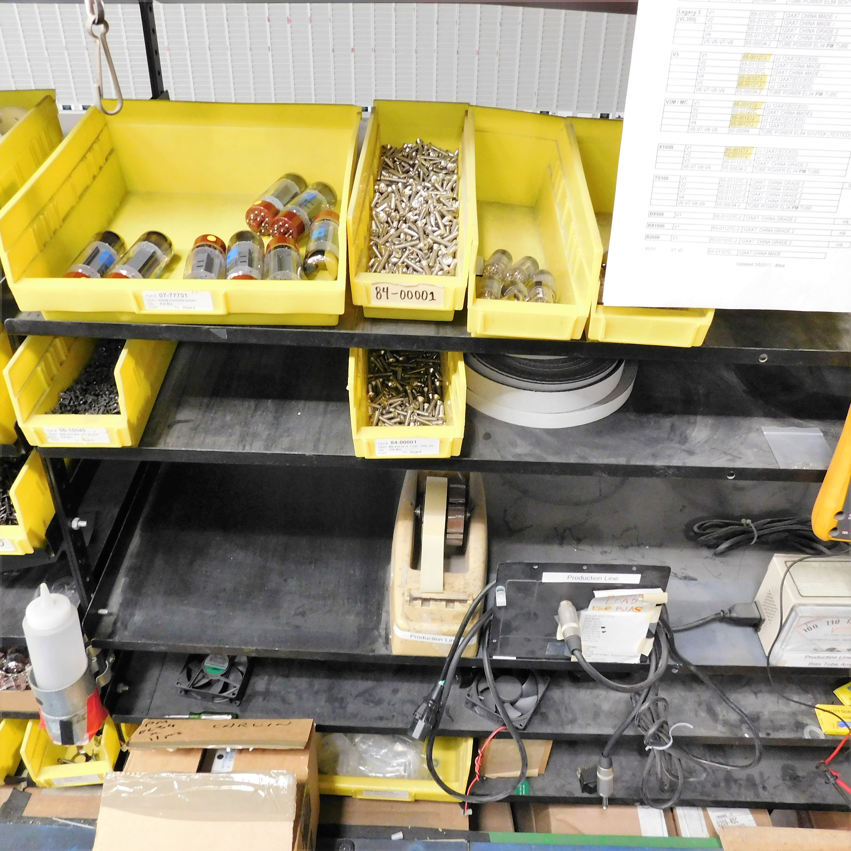 Lot 31 - LOT - 28' ELECTRONIC ASSEMBLY LINE TO INCLUDE: 28' ROLLER CONVEYOR, (8) PNEUMATIC TORQUE DRIVERS,
