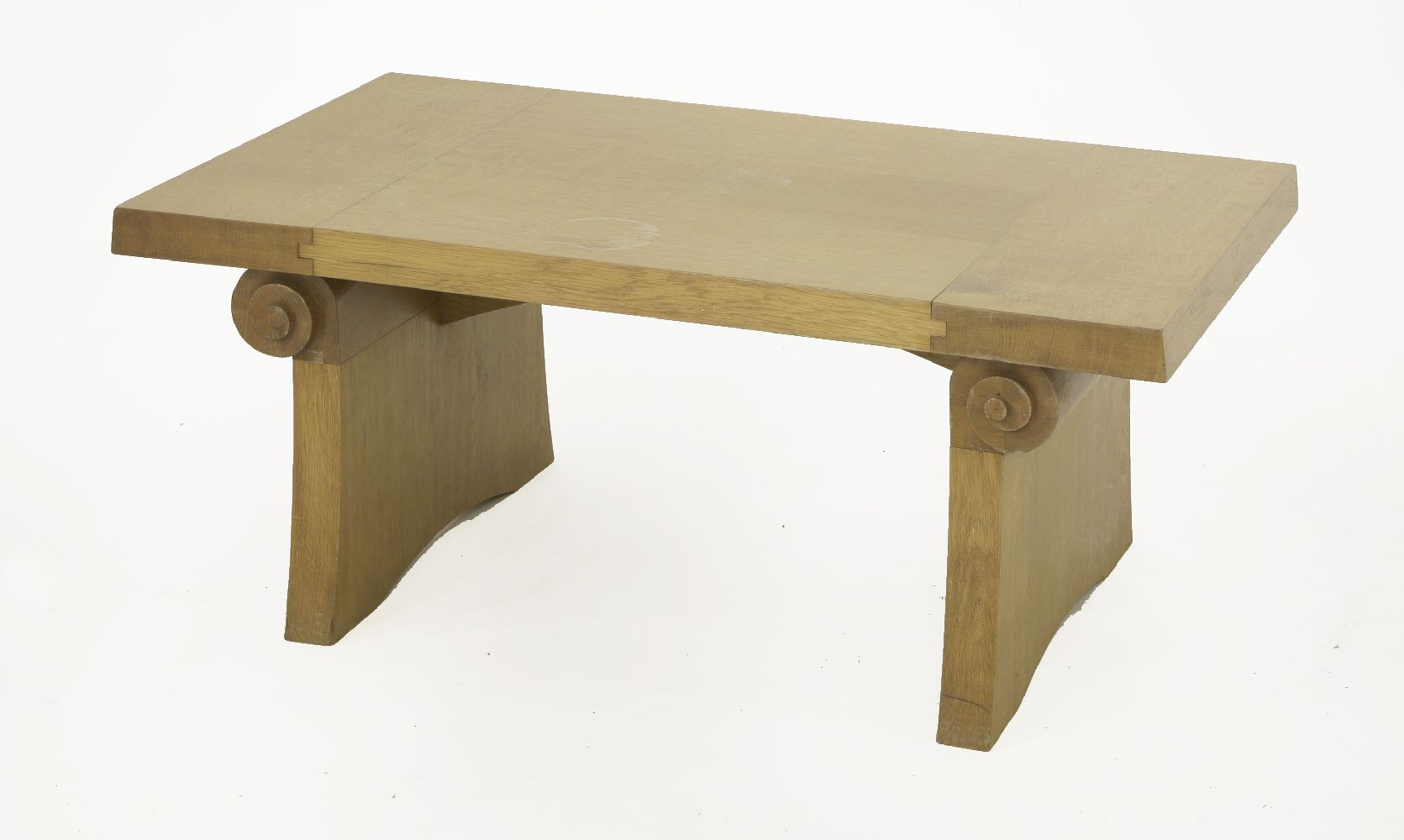 An oak coffee table the rectangular top raised on for Coffee tables 36 wide
