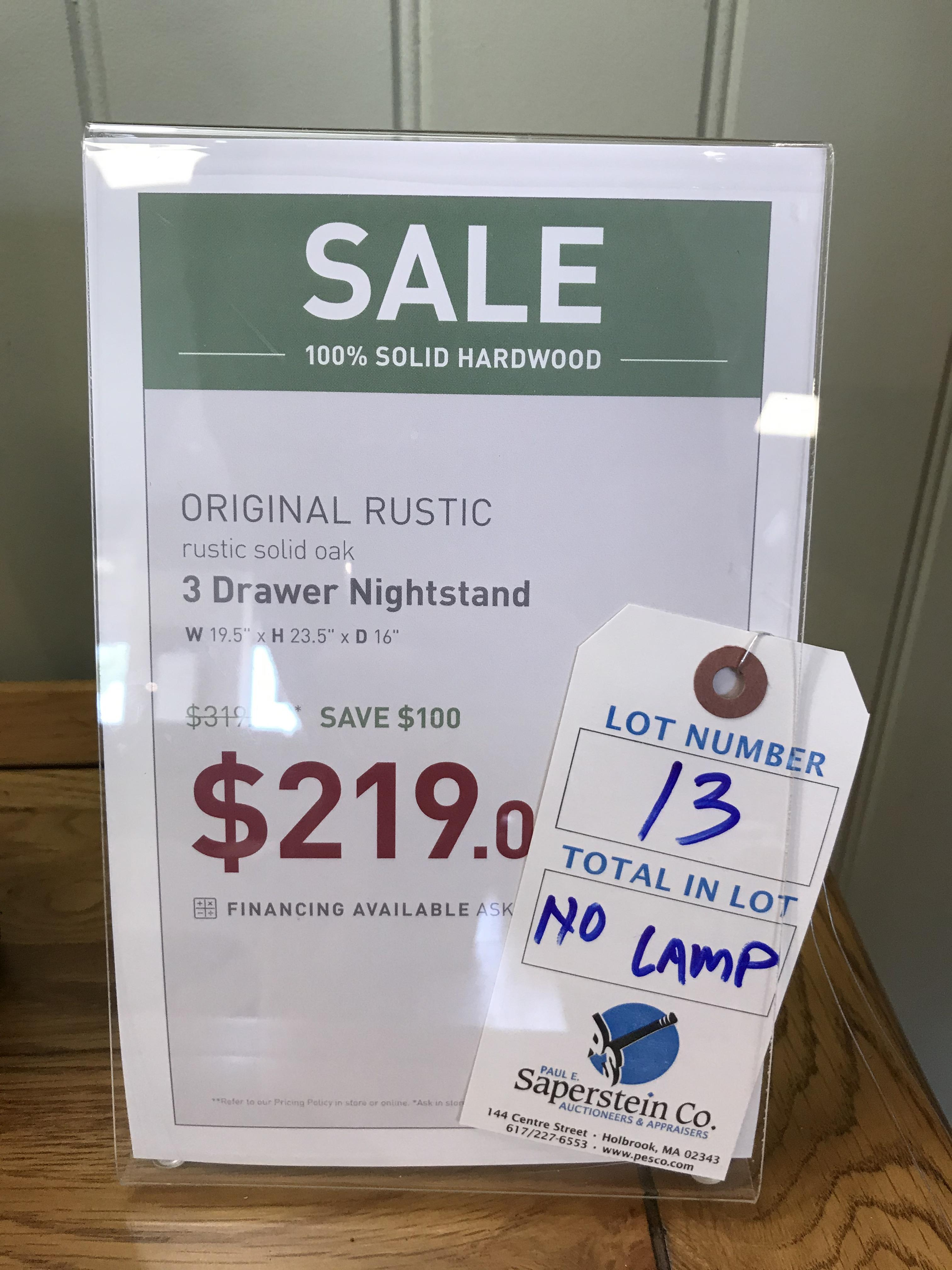 3 Drawer Nightstand (Original Rustic) See Picture For Dimensions and Product Info - Image 2 of 2