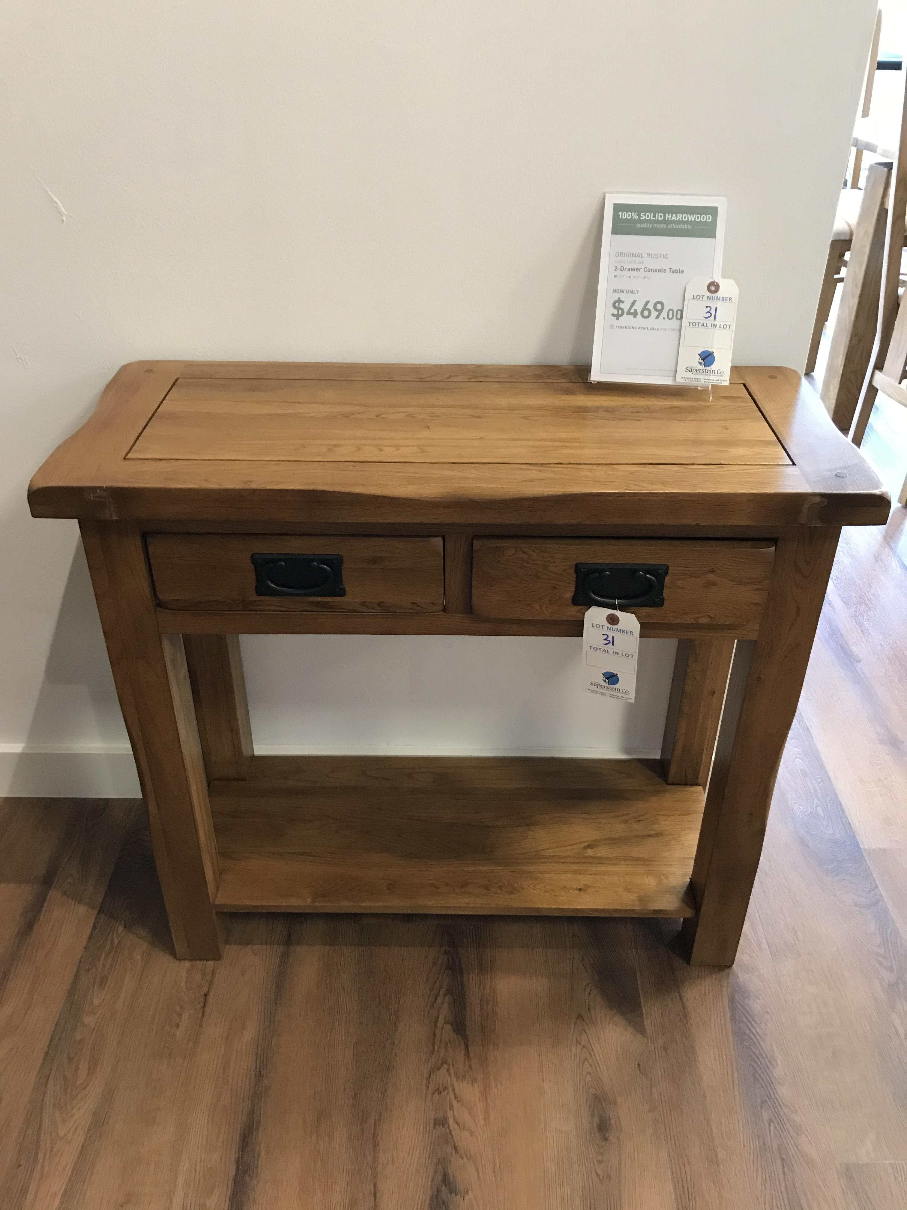 2 Drawer Console Table (Original Rustic) See Picture For Dimensions and Product Info