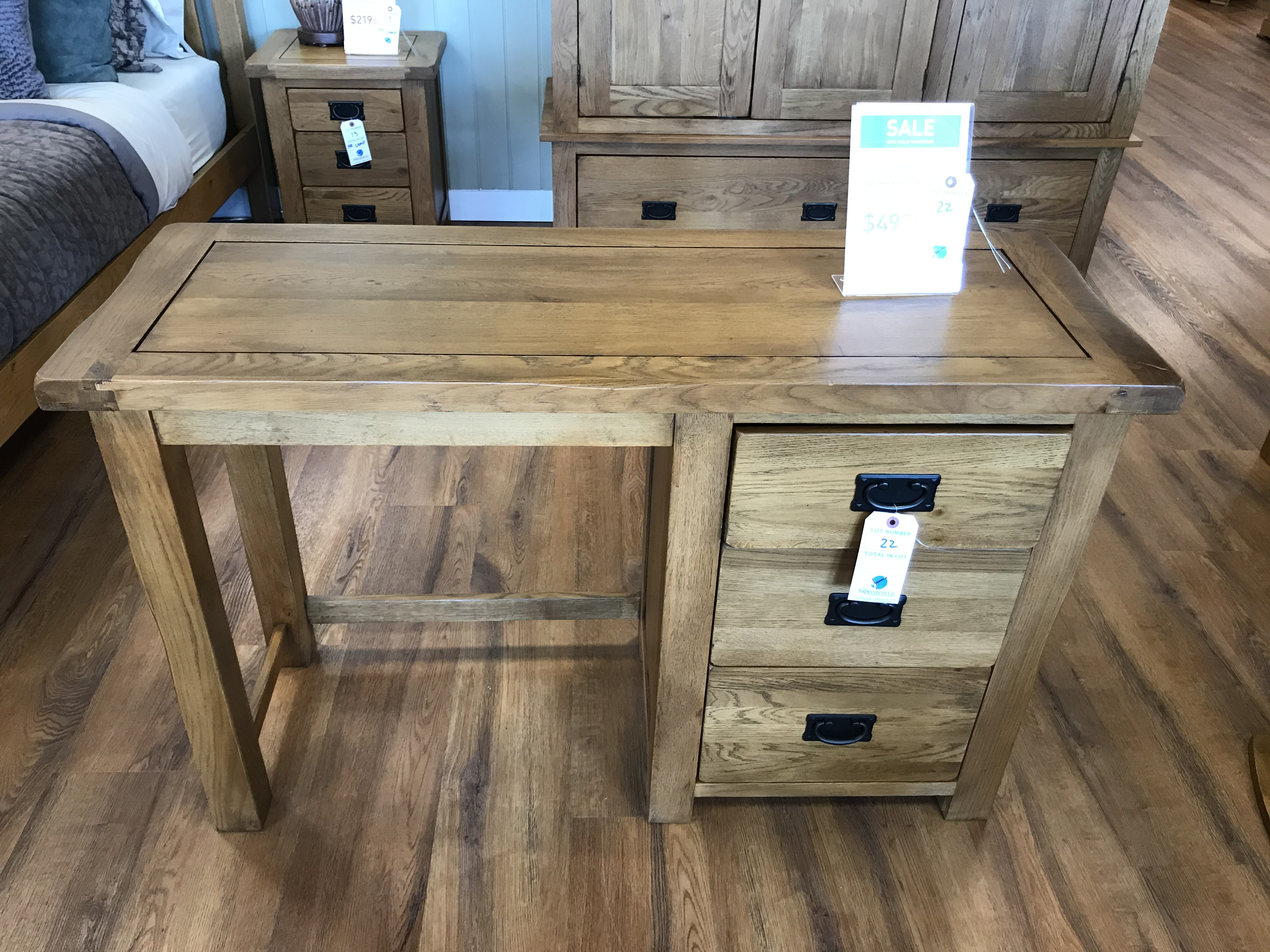 3 Drawer Vanity Table (Original Rustic) See Picture For Dimensions and Product Info