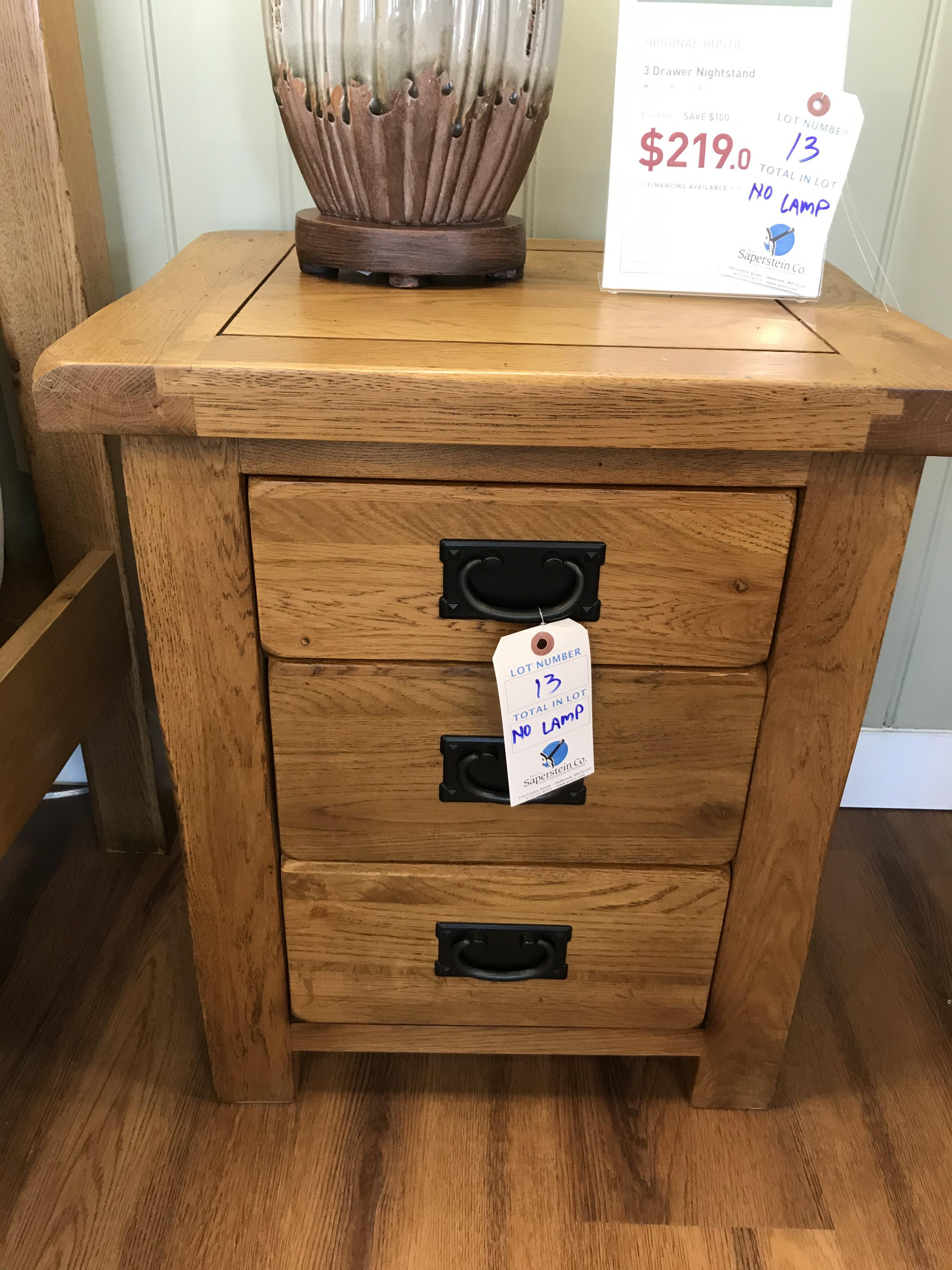3 Drawer Nightstand (Original Rustic) See Picture For Dimensions and Product Info