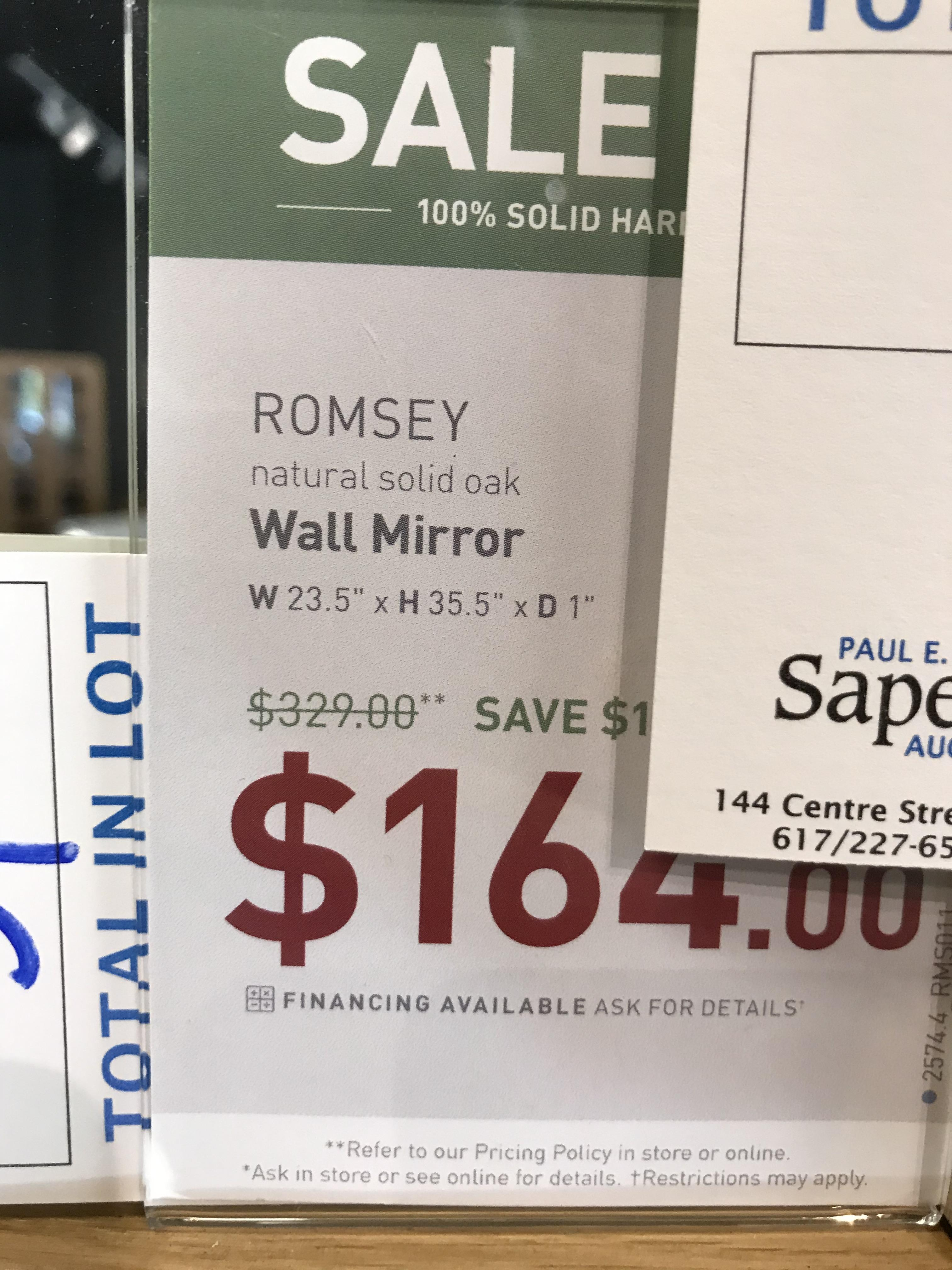 Wall Mirror (Romsey) See Picture For Dimensions and Product Info - Image 2 of 2