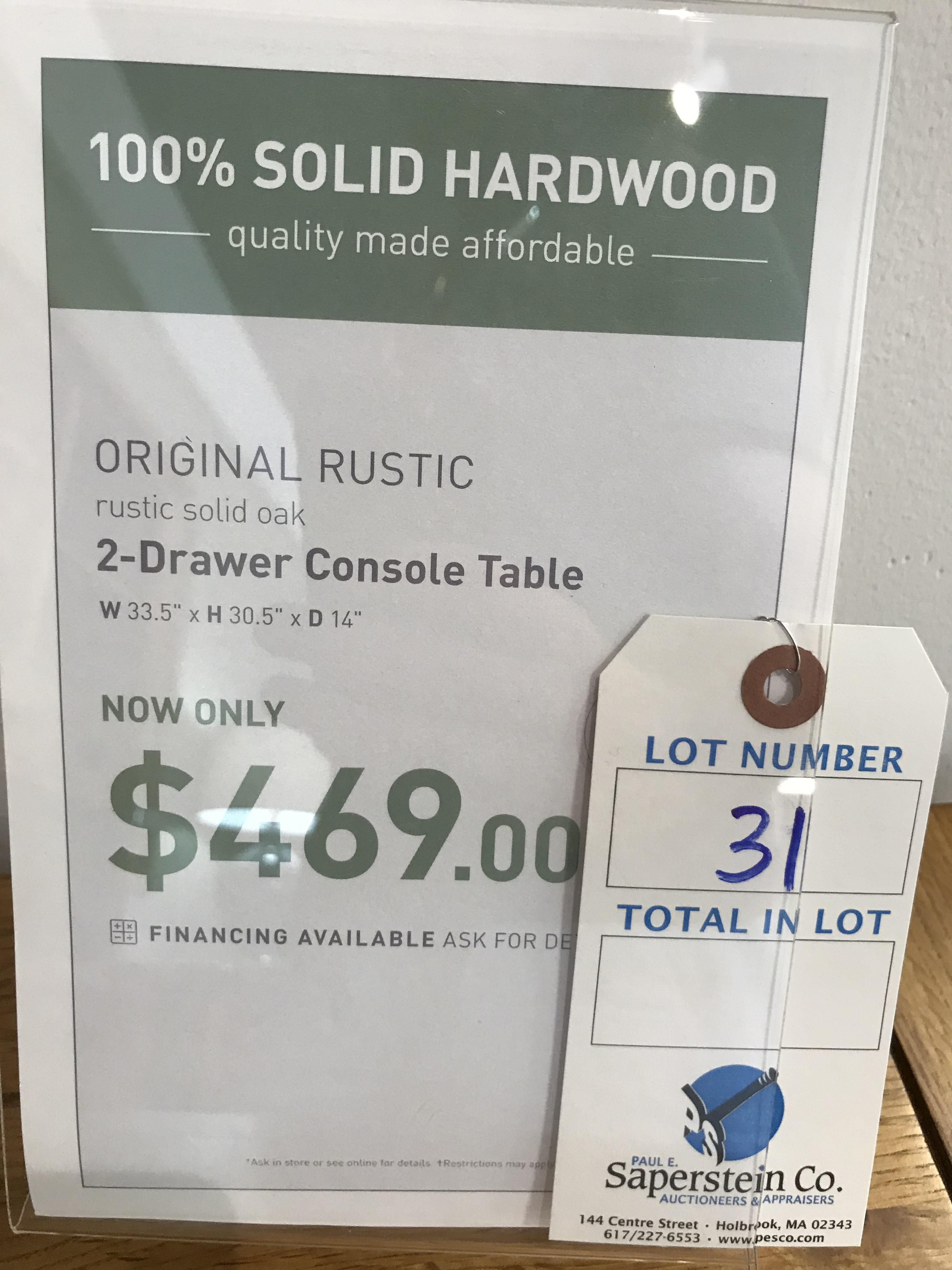 2 Drawer Console Table (Original Rustic) See Picture For Dimensions and Product Info - Image 2 of 2