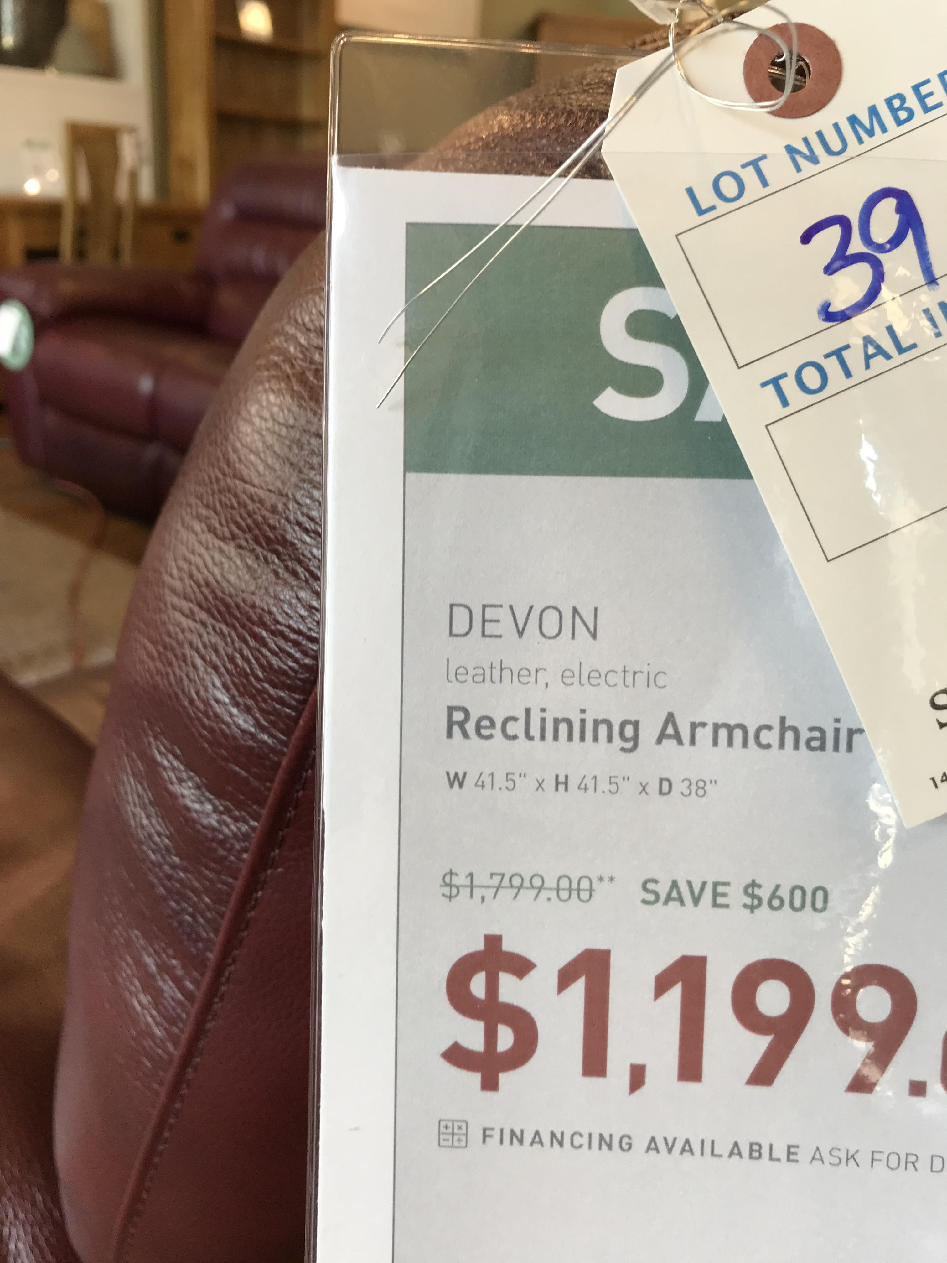 Reclining Arm Chair (Devon) See Picture For Dimensions and Product Info - Image 2 of 2