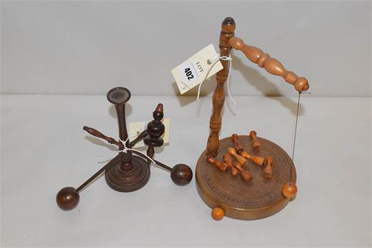 An Early 20th Century Turned Wooden Set Of Bar Skittles A Similar