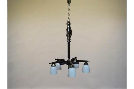 Art Deco Hanglamp : 5 armige art deco hanglamp 5 armige art deco kroonlamp de houten