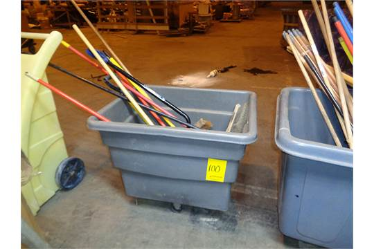 Group of lots: 99, 100 } RUBBERMAID BIN OF BROOMS & SHOVELS