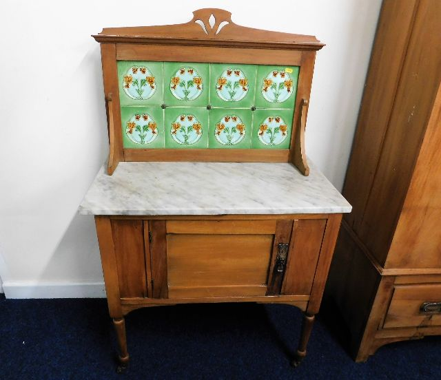 Lot 1 - A c.1900 satinwood washstand with marble top & til