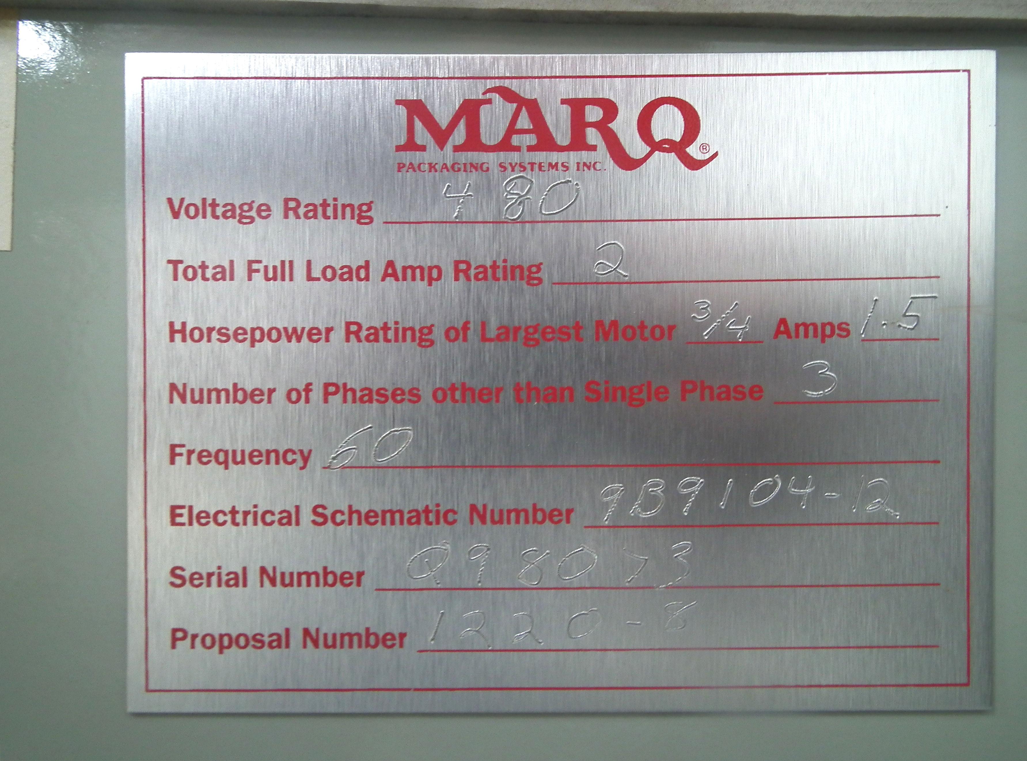 Marq Tuff HPE-NS-MF/RH/DL Bottom Tape Case Erector A9697 - Image 13 of 15