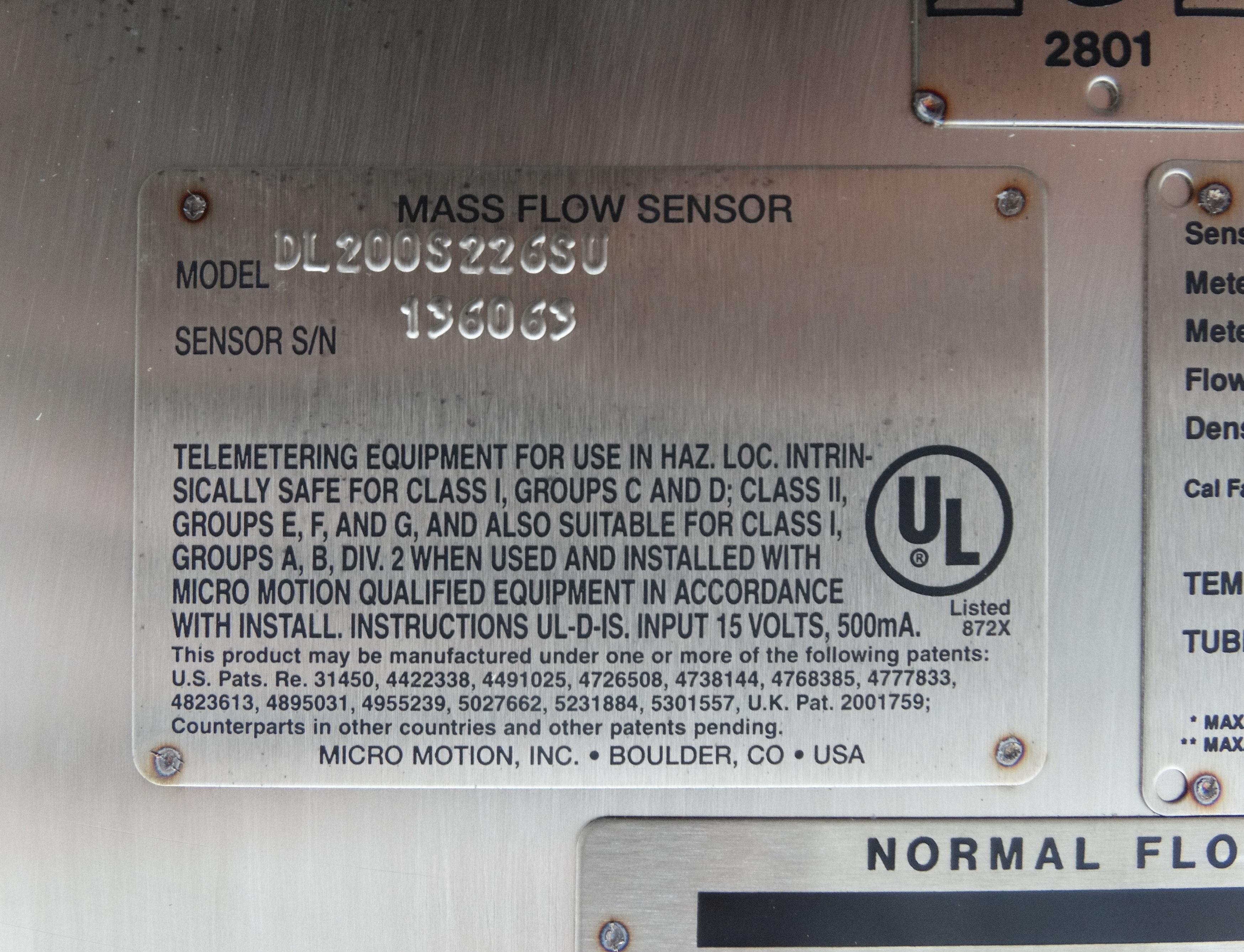 Micro Motion DL200S226SU Mass Flow Sensor D1533 - Image 5 of 5
