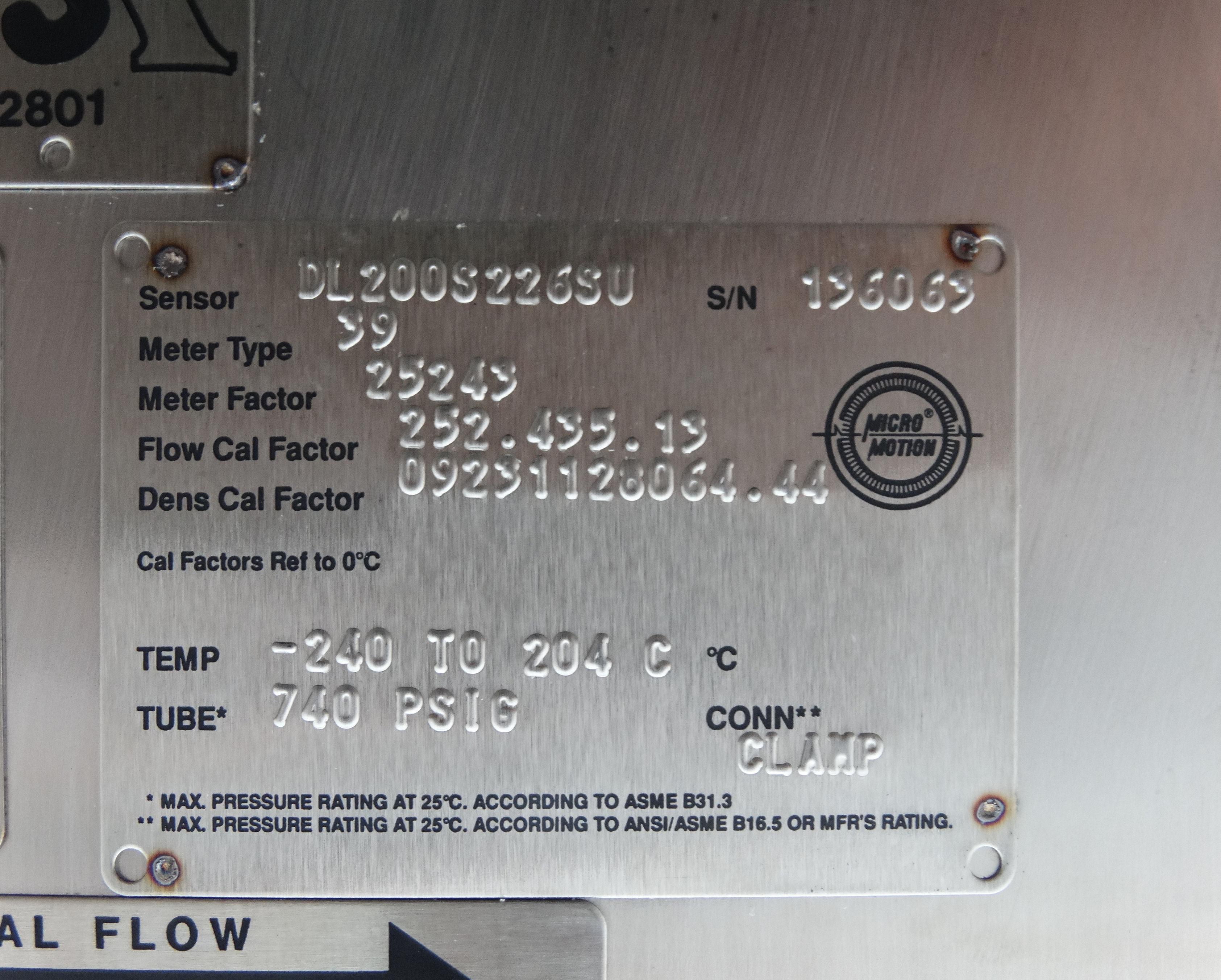 Micro Motion DL200S226SU Mass Flow Sensor D1533 - Image 4 of 5