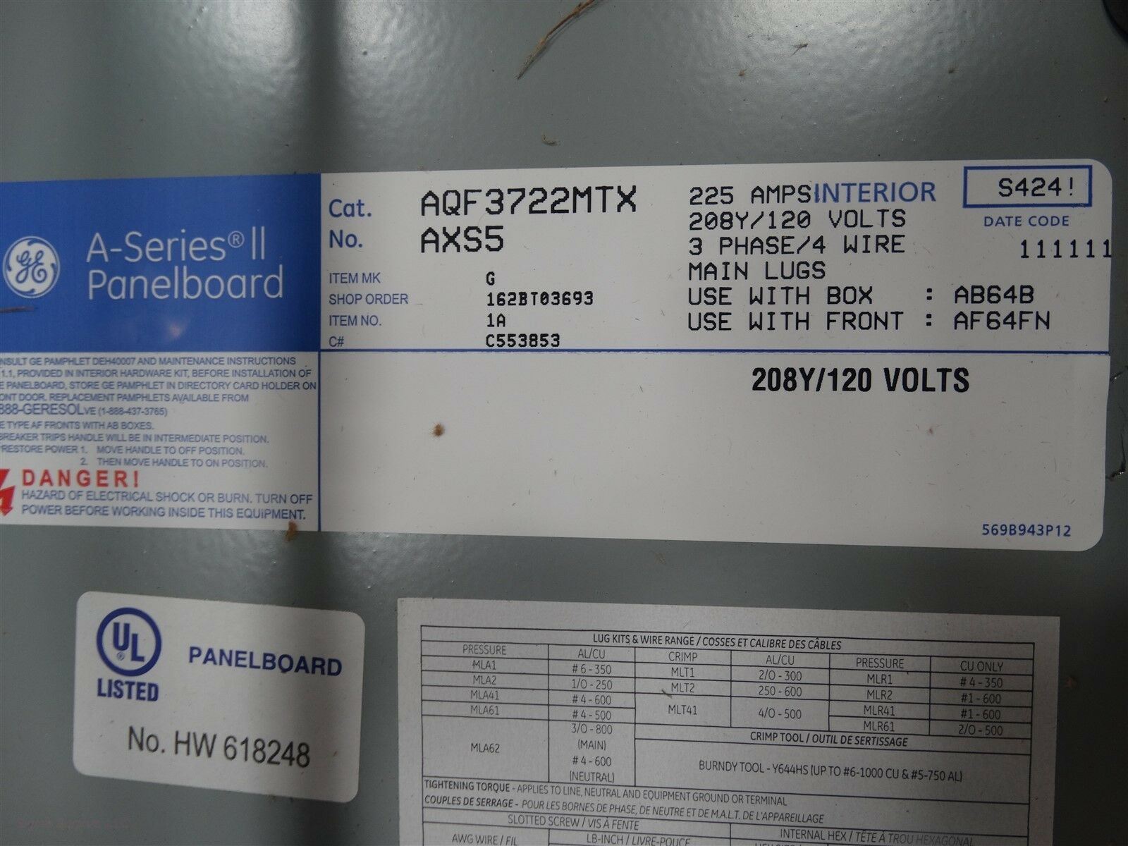 """Lot 242 - GE A-Series II AQF3722MTX AXS5 Panel Board With 64"""" Box And Flush Front Q 16482"""