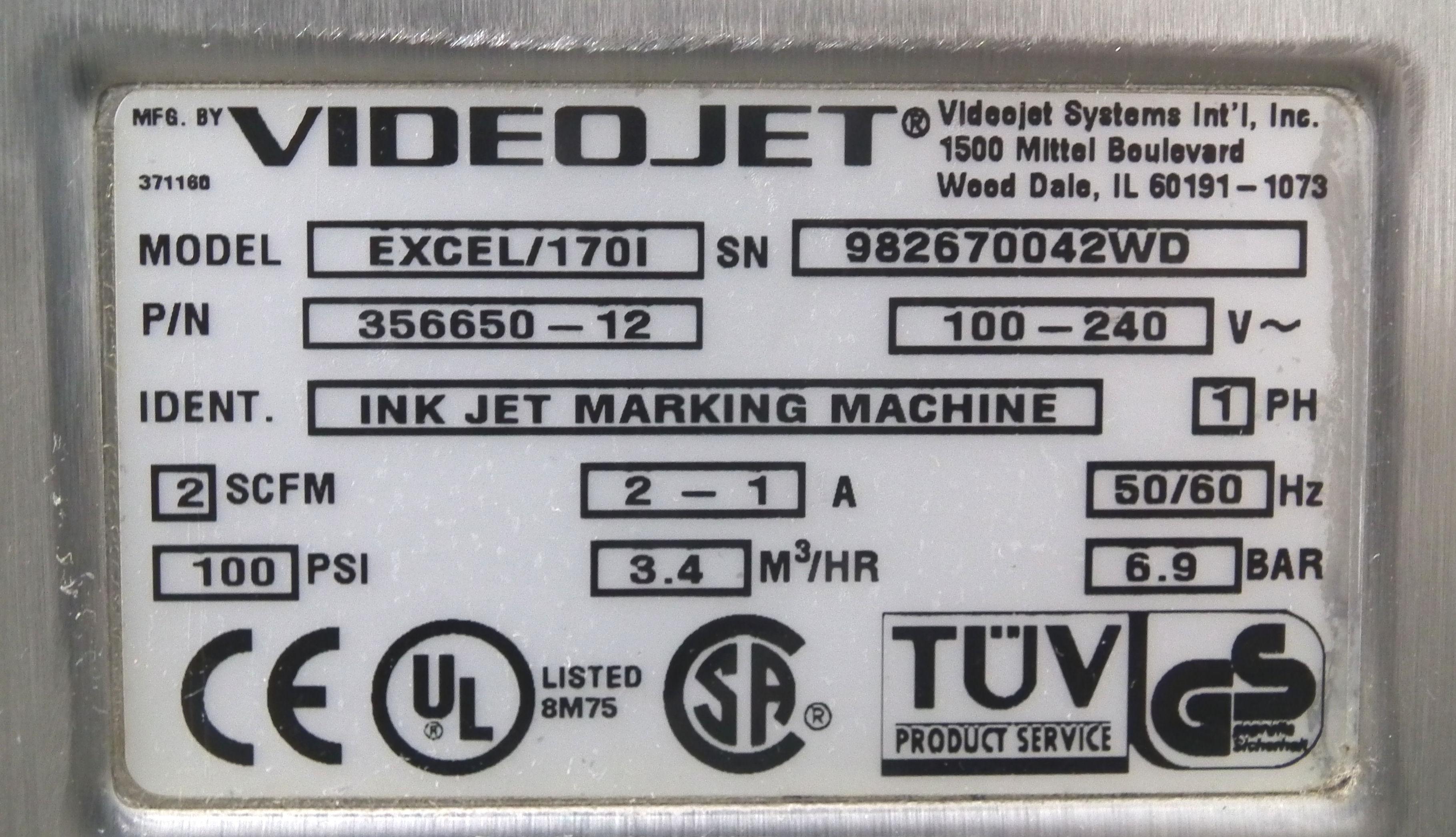 VideoJet Excel 170i Single Nozzle Ink Jet Coder A9284 - Image 9 of 9