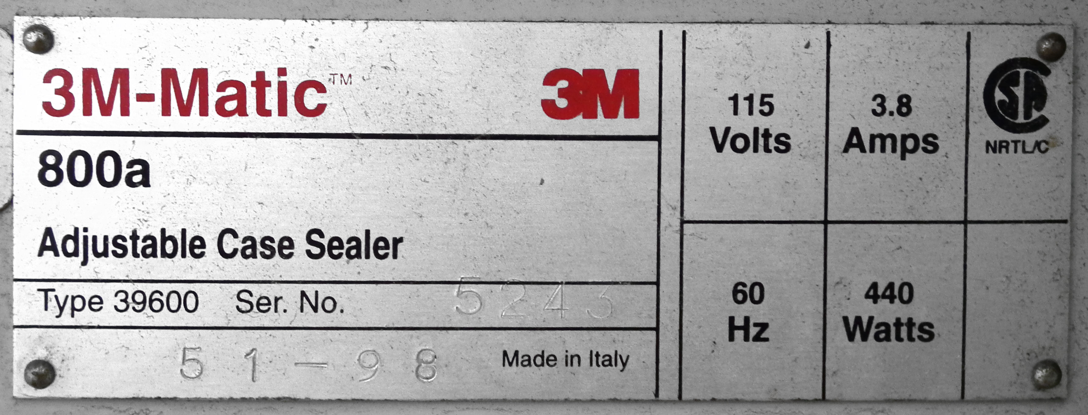 3M Top and Bottom Case Taper Model 800A B4595 - Image 8 of 8