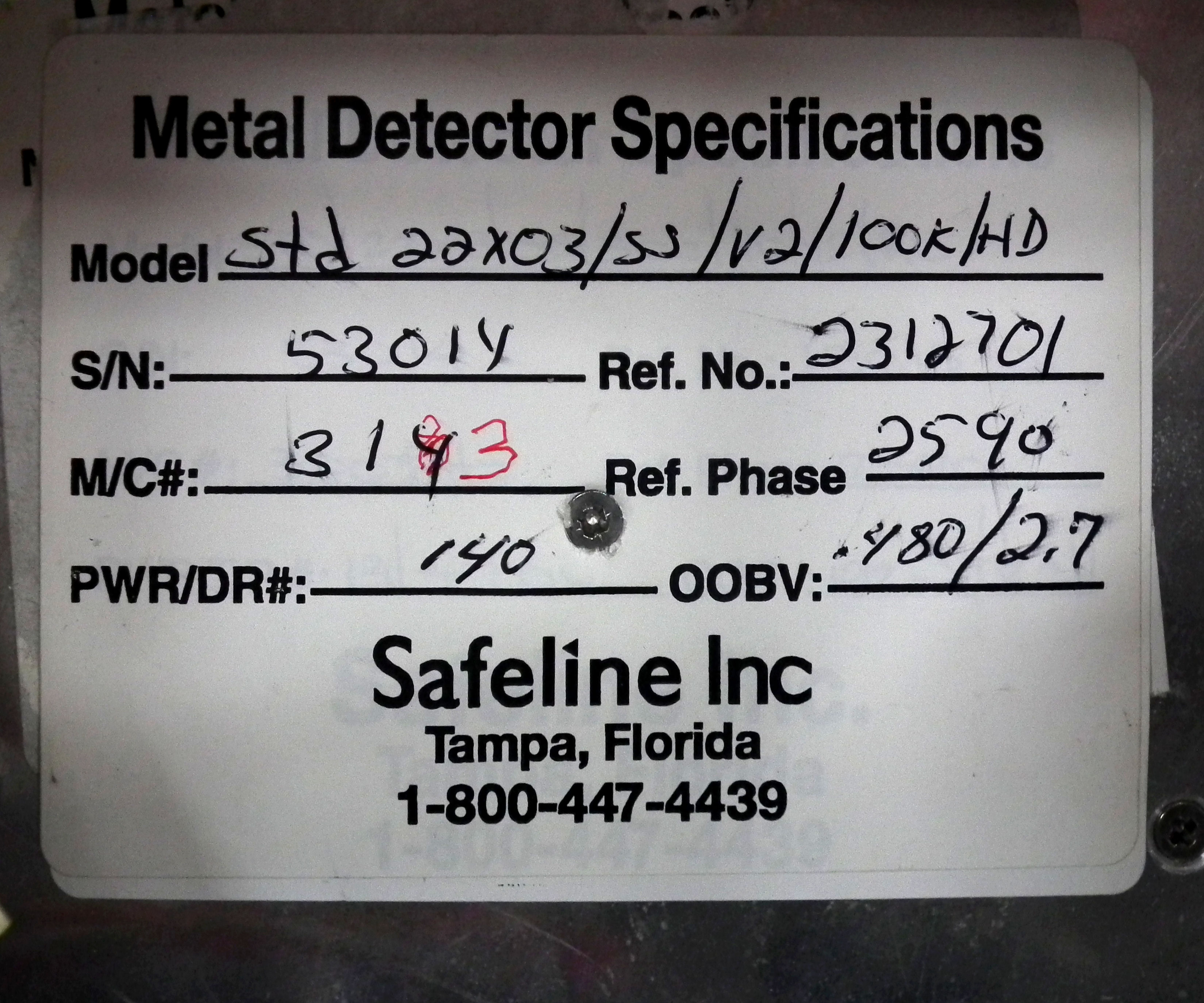 "Safeline SL2000 21"" Wide x 2"" High Metal Detector B2978 - Image 9 of 9"