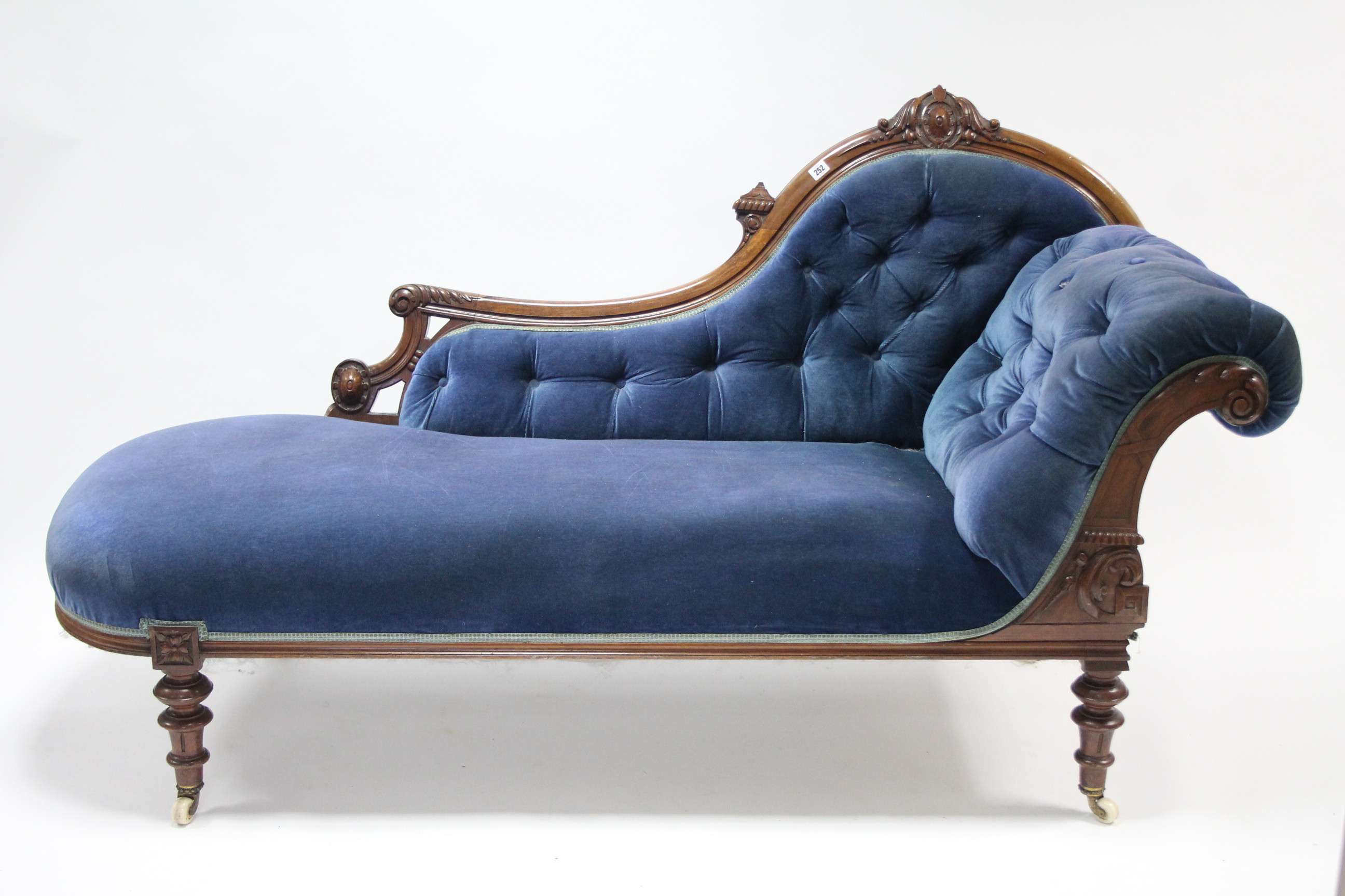 A victorian carved walnut frame chaise longue with for Chaise longue frame