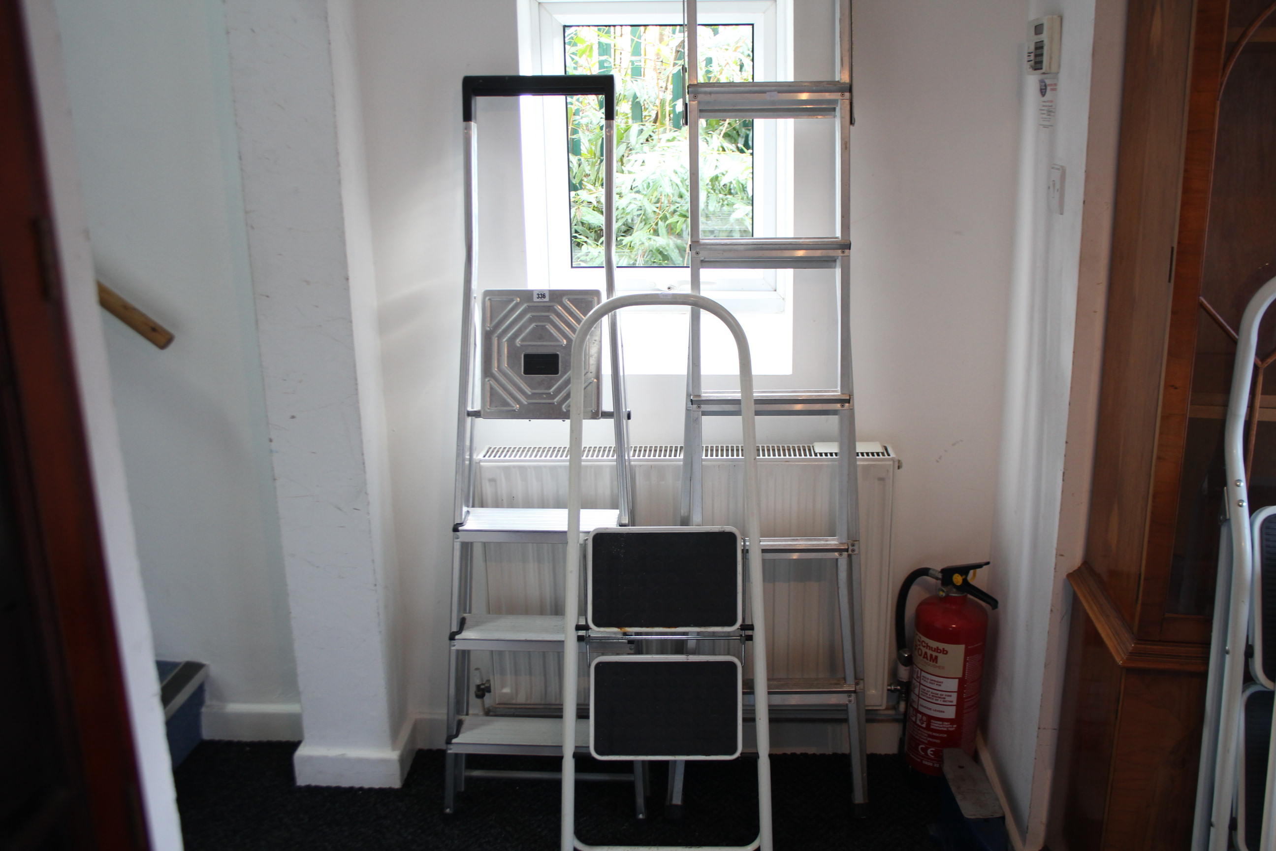 Lot 336 - Five various pairs of step ladders.