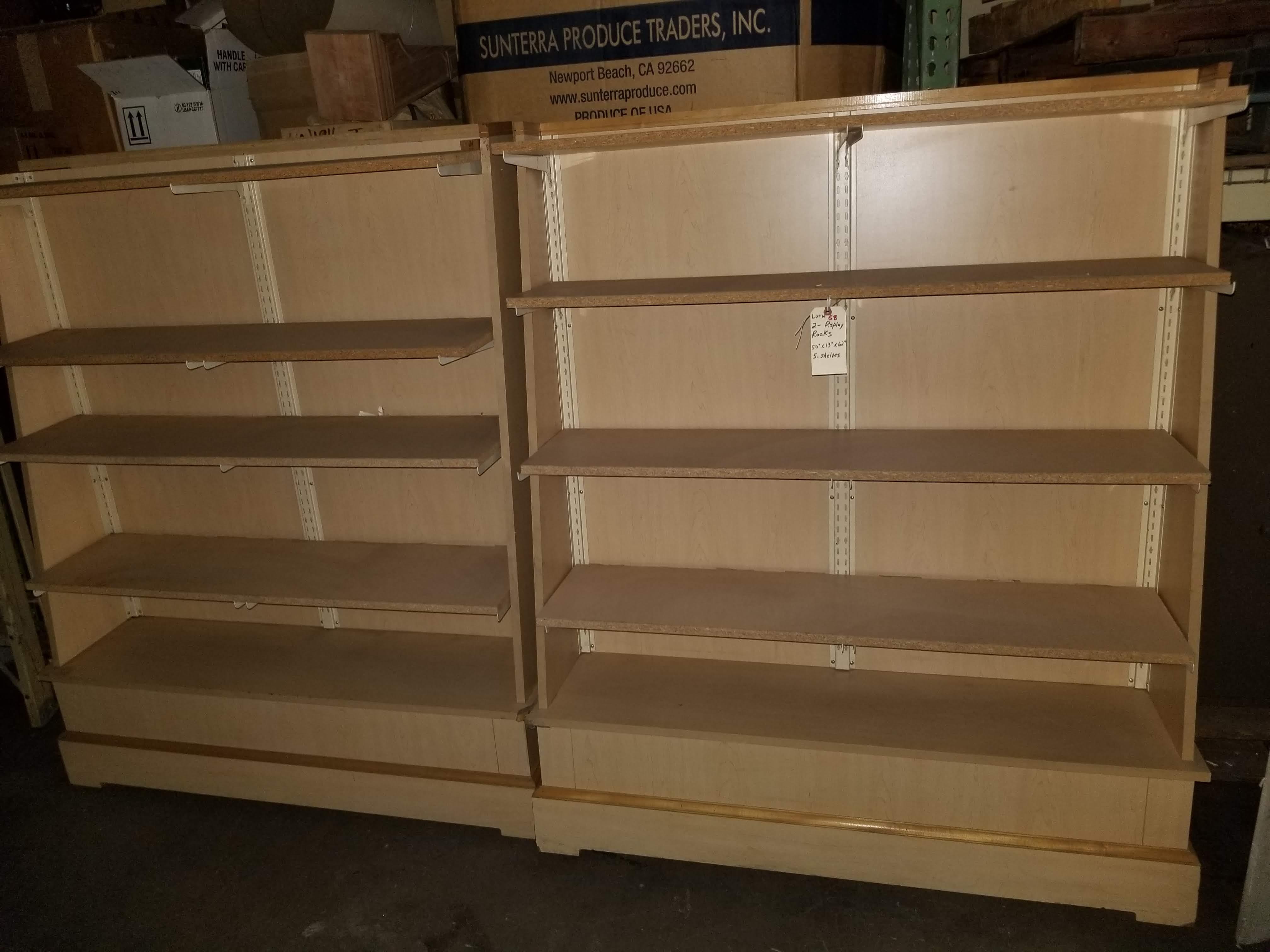 "2 - Wood Display Racks 50""x13""x62"" 5 Shelves"