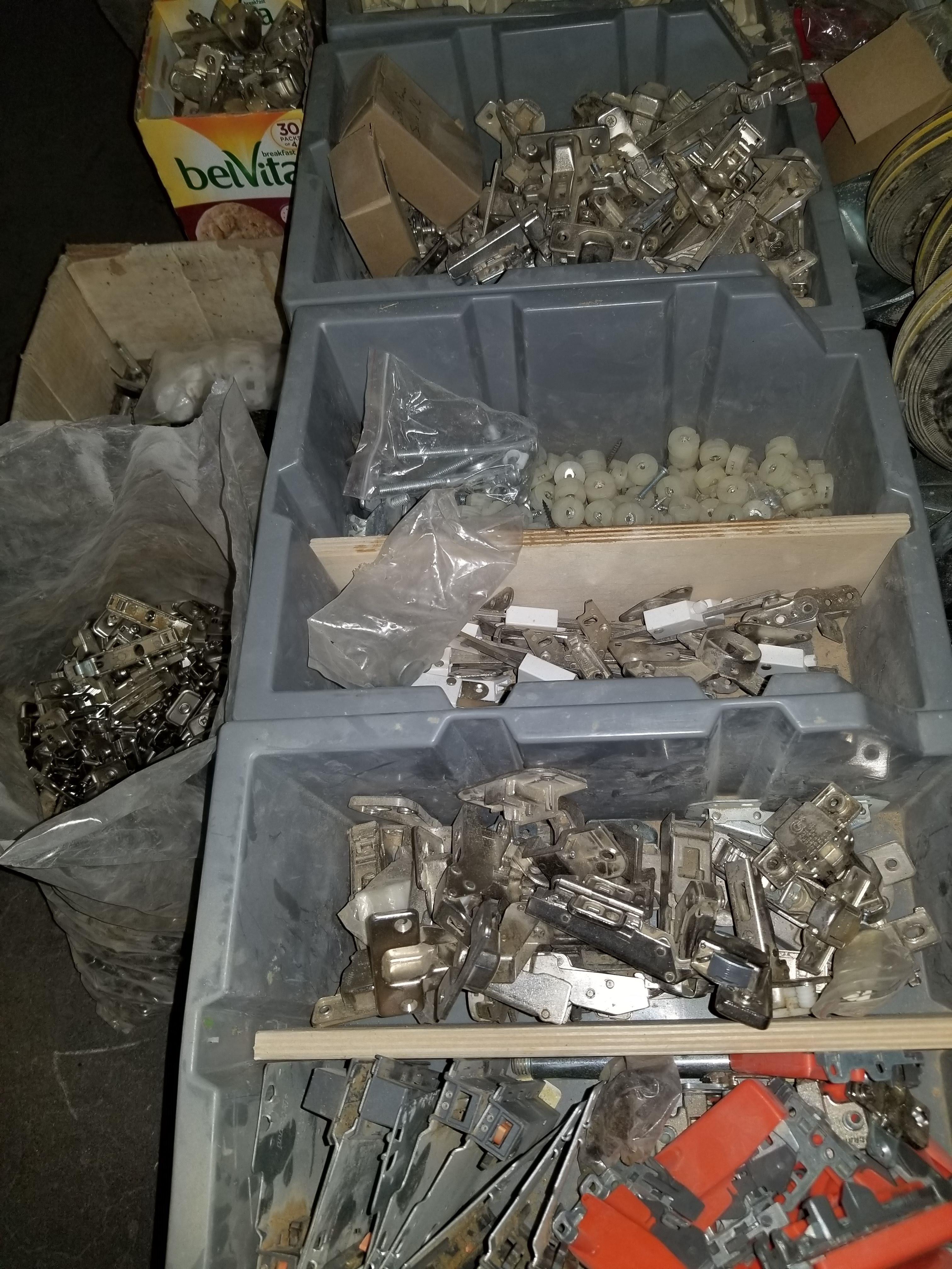 Pallet of Misc. Hardware, Hinges, Screws, Spacers, caster wheels, & More - Image 2 of 6