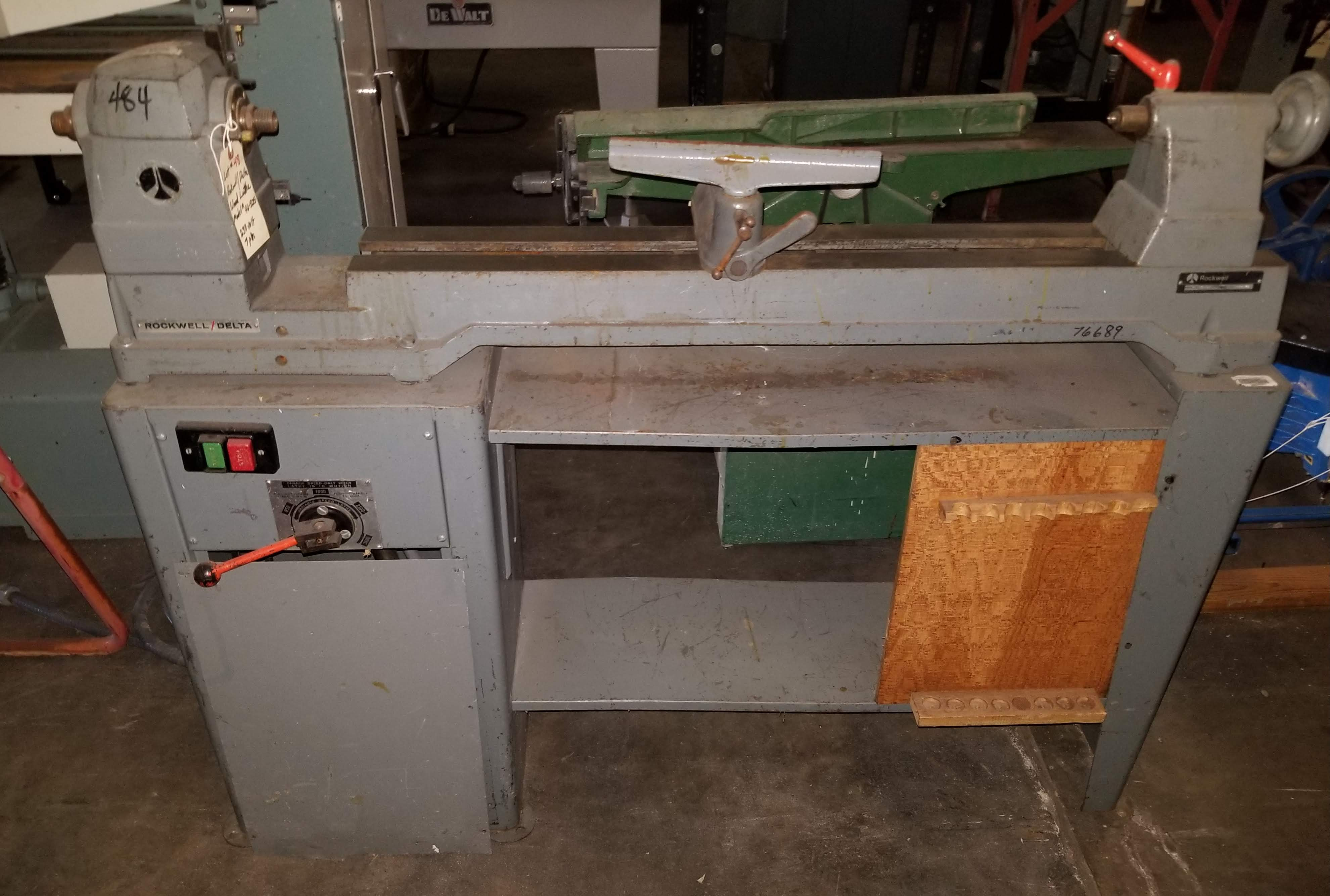 Rockwell Delta Wood Lathe Model # 46-525, 230V 3ph, variable speed gap bed wood lathe in very good
