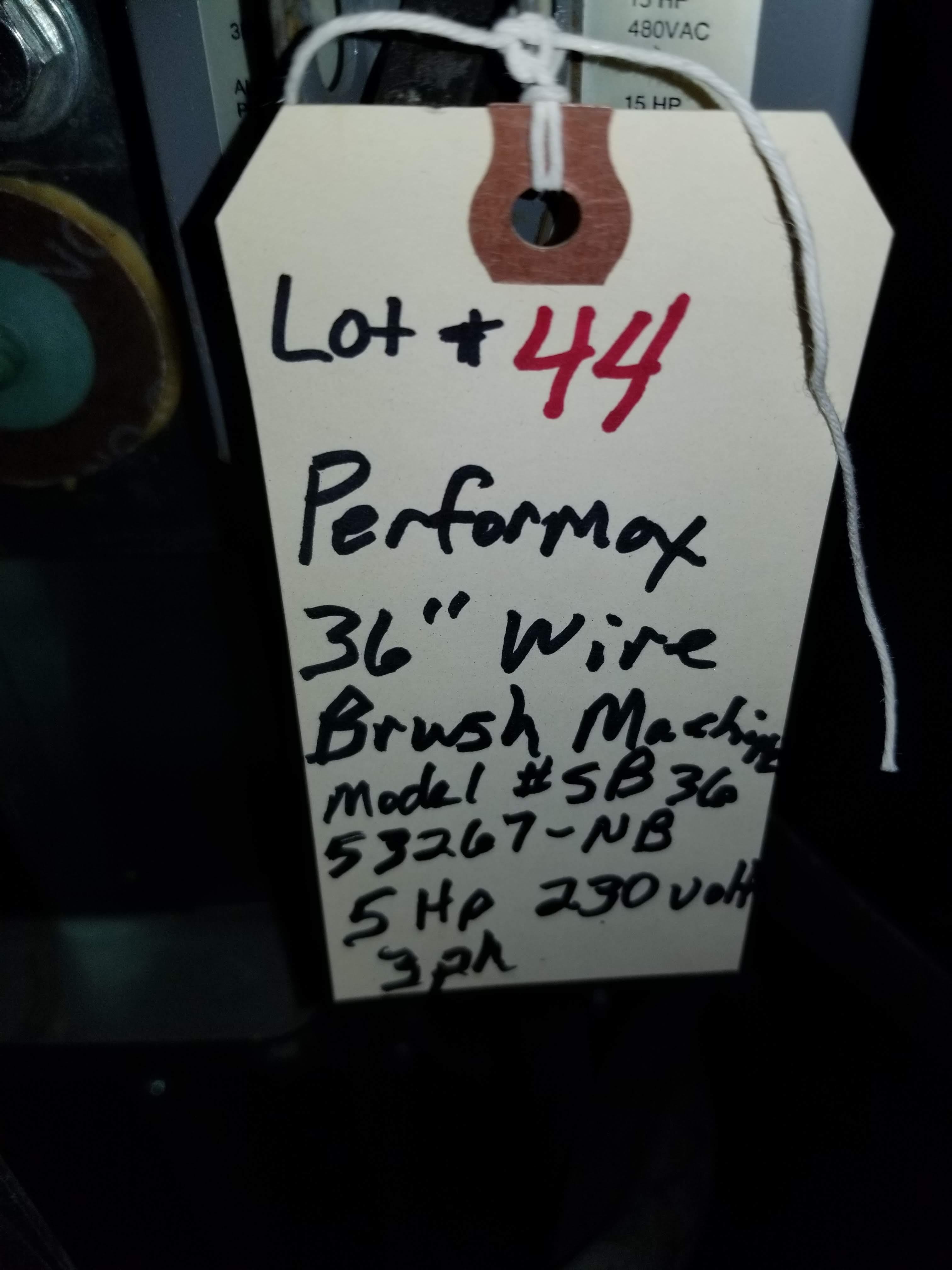 """Perormax 36"""" Wire Brush Machine Mo. #SB3653267-NB 5hp 230V 3ph No Brush - Image 5 of 5"""
