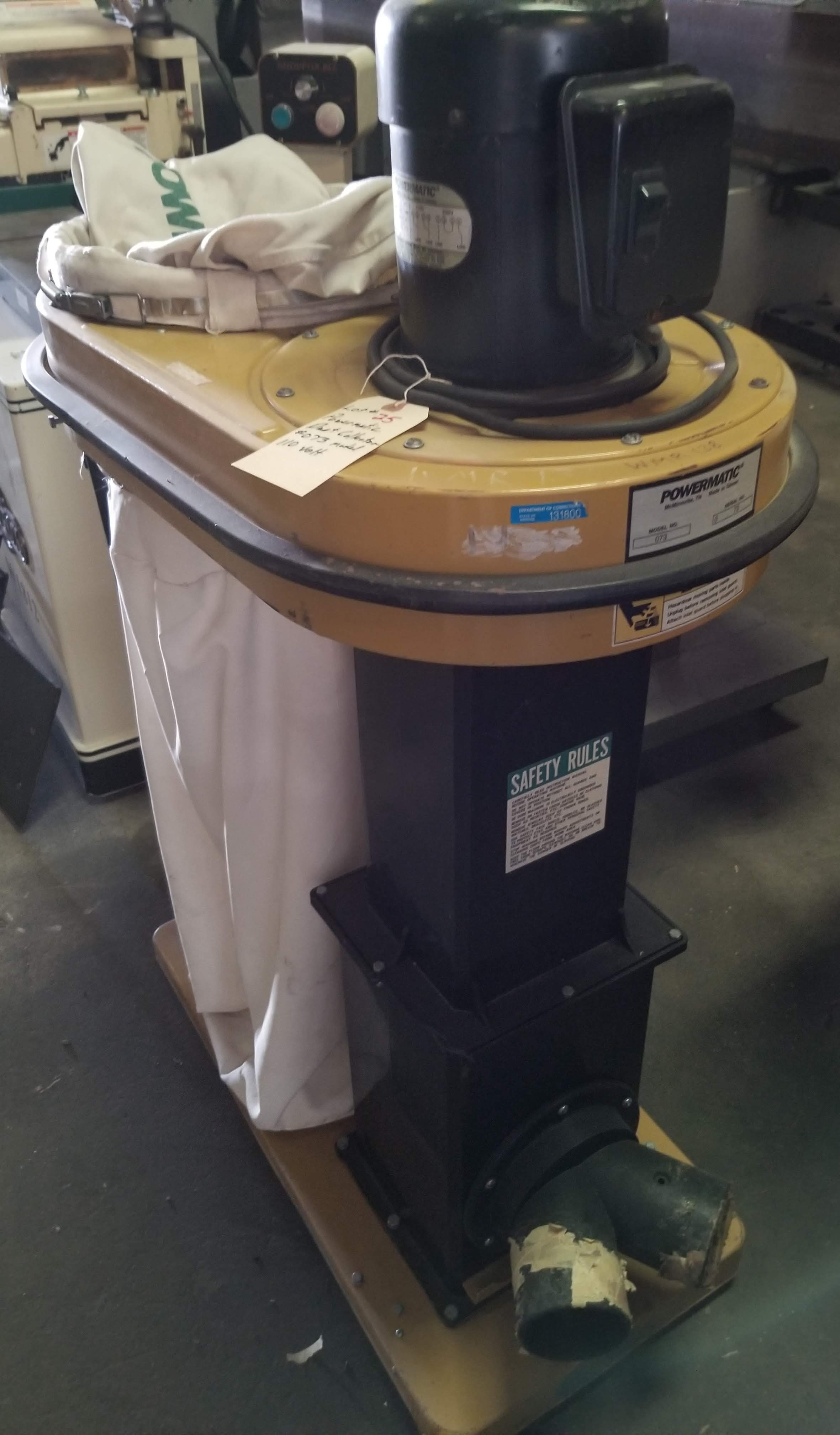 Powermatic Dust Collector Model # 073, 1.5 hp 110V, Top & Bottom Bag, (2) 4-Dust Chutes, Casters. - Image 3 of 5