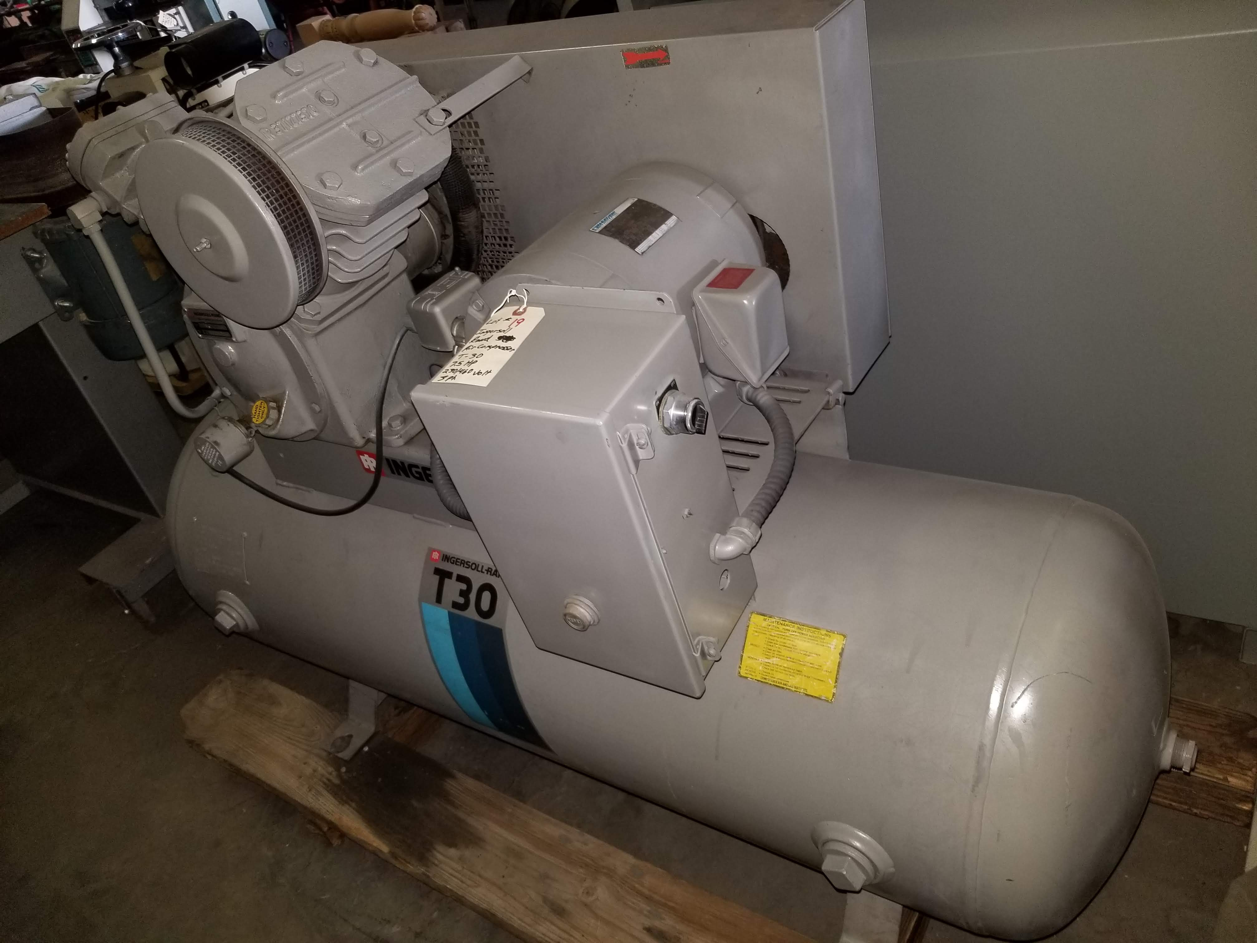 Lot 19 - Ingersoll-Rand 7.5hp air compressor T30 230/460V 3ph