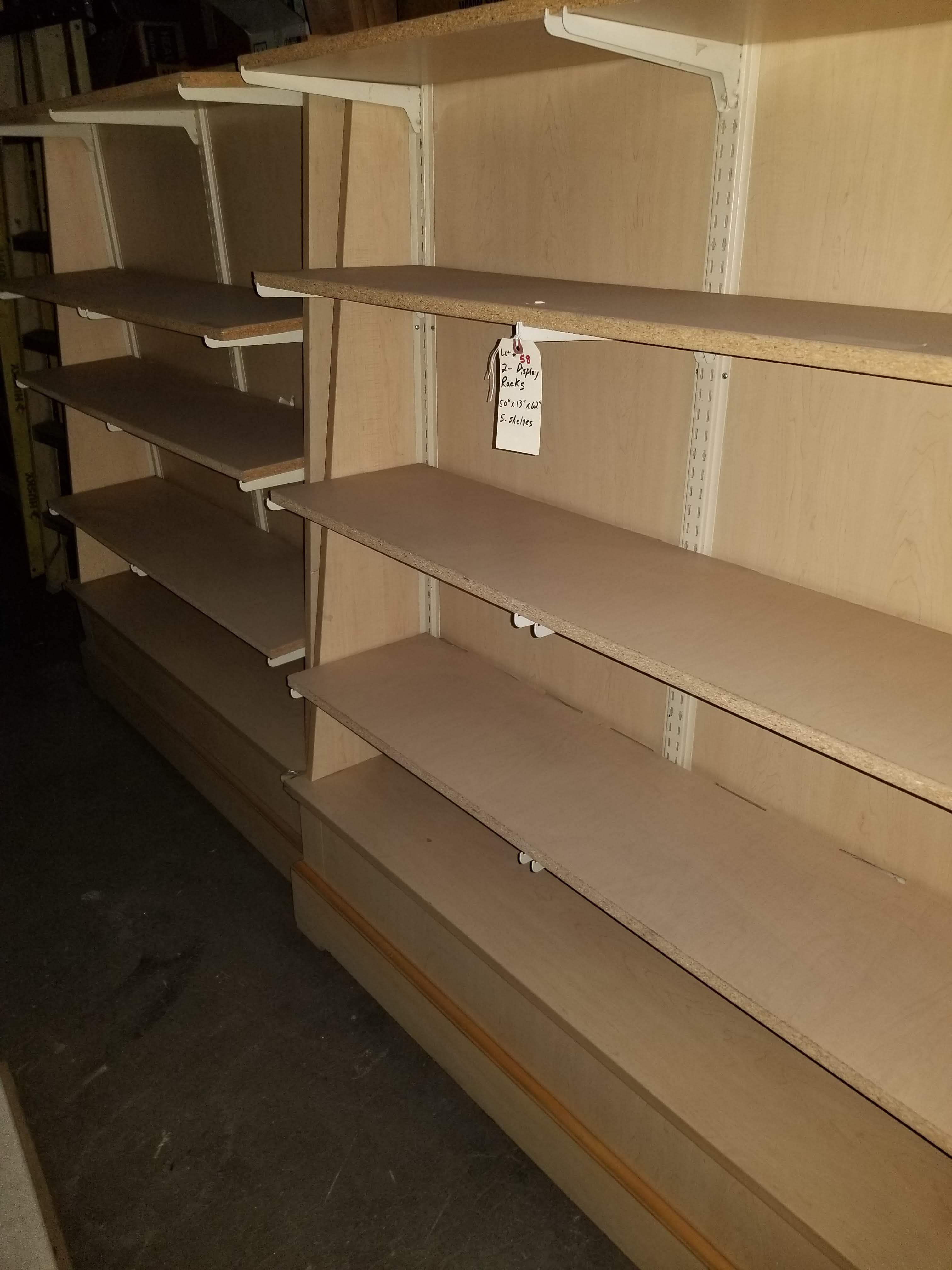 "2 - Wood Display Racks 50""x13""x62"" 5 Shelves - Image 2 of 4"
