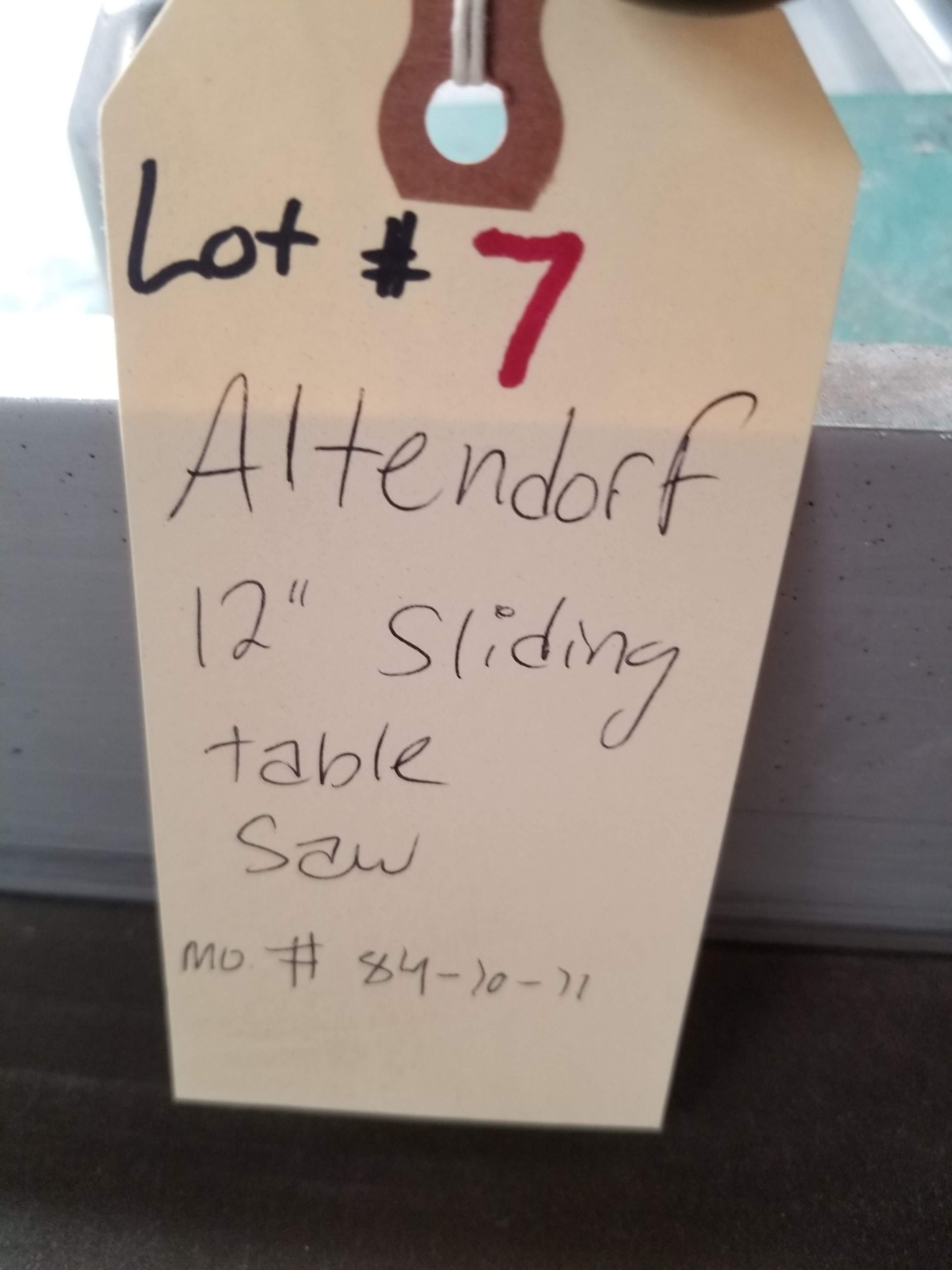 """Lot 7 - Altendorf 12"""" sliding table saw Mo. #84-10-11 w/ scoring blade, 7.5HP Main Motor, 1HP Scoring"""