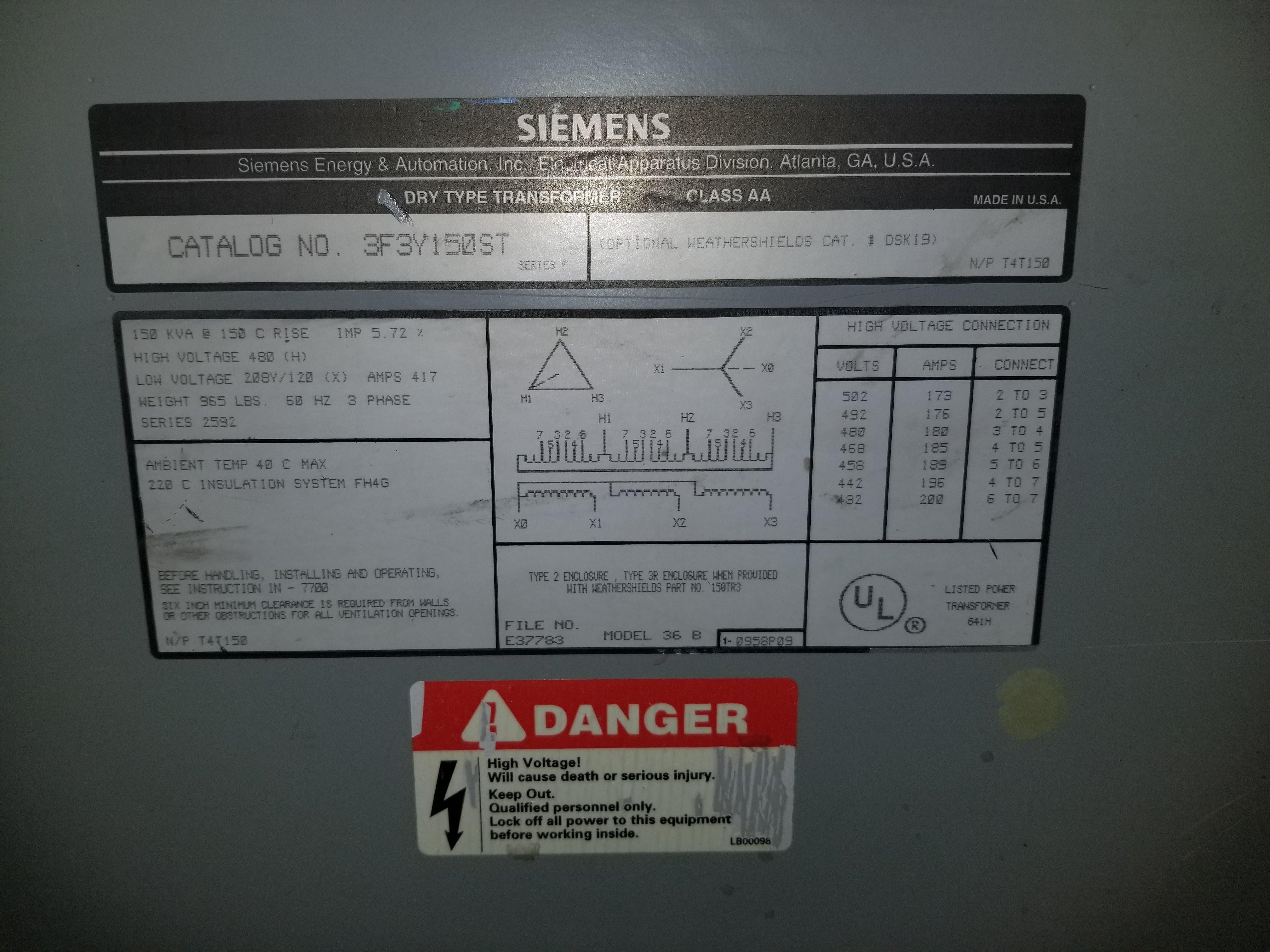 Lot 22 - Siemens Dry Type Transformer 150 KVA, Catalog 3F3Y150ST, Primary voltage (480V), secondary