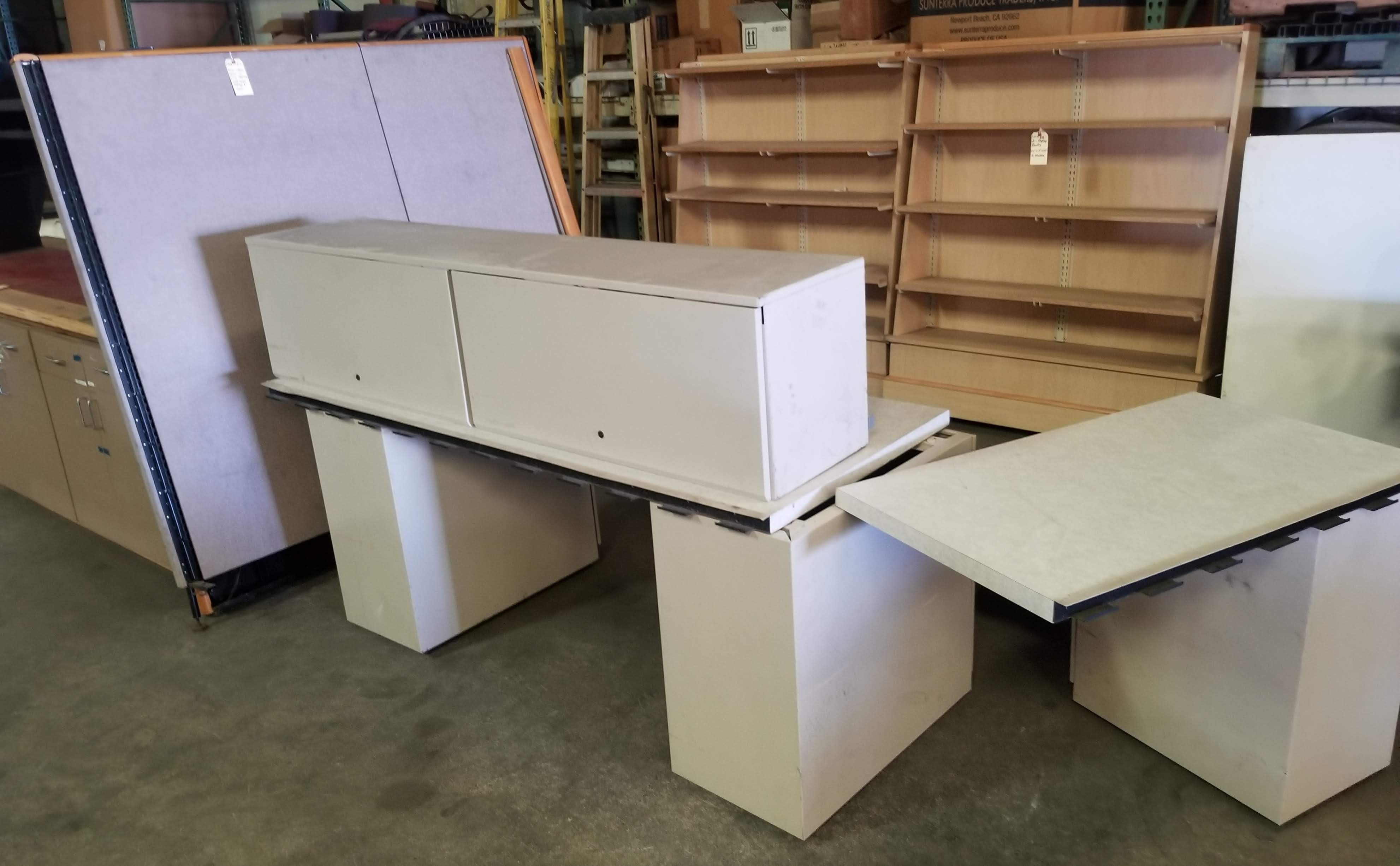 Grey Office Tables with walls & 3 - Grey Filing Cabinets - Image 5 of 7
