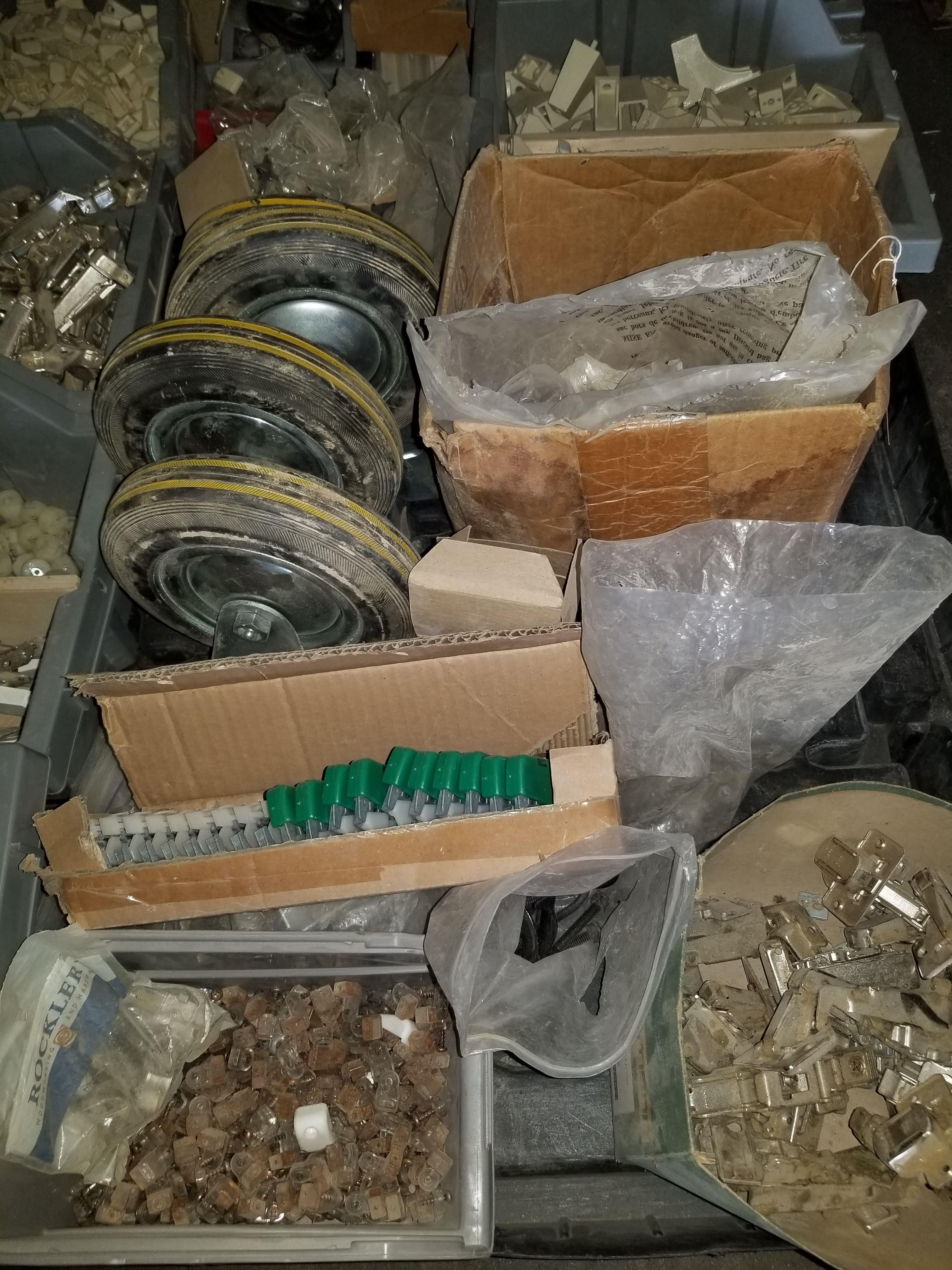 Pallet of Misc. Hardware, Hinges, Screws, Spacers, caster wheels, & More - Image 3 of 6