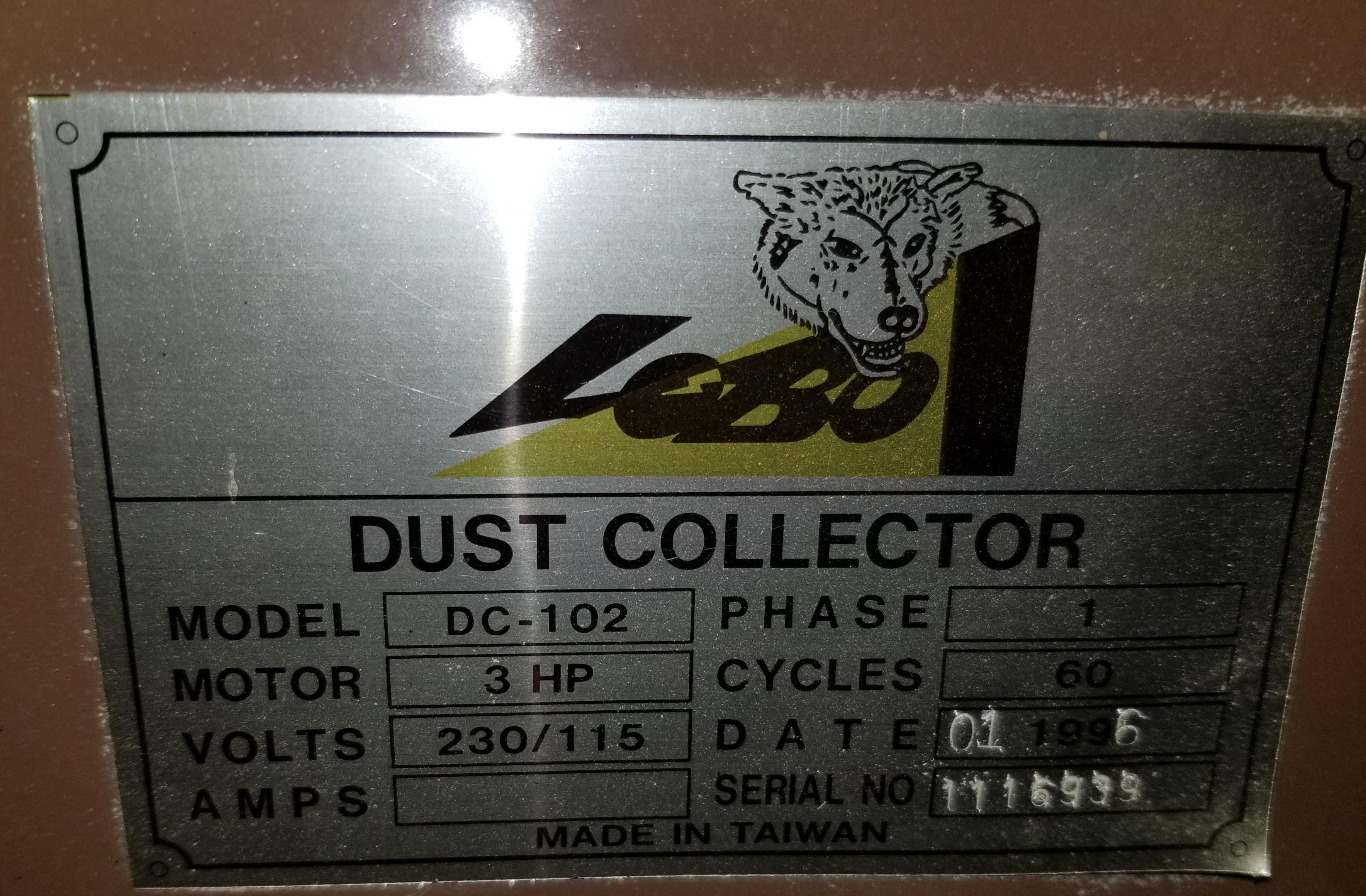 Lobo Dust Collector DC-102, 4 Bag, w/ Hose, 3hp 220V 1ph. - Image 2 of 5