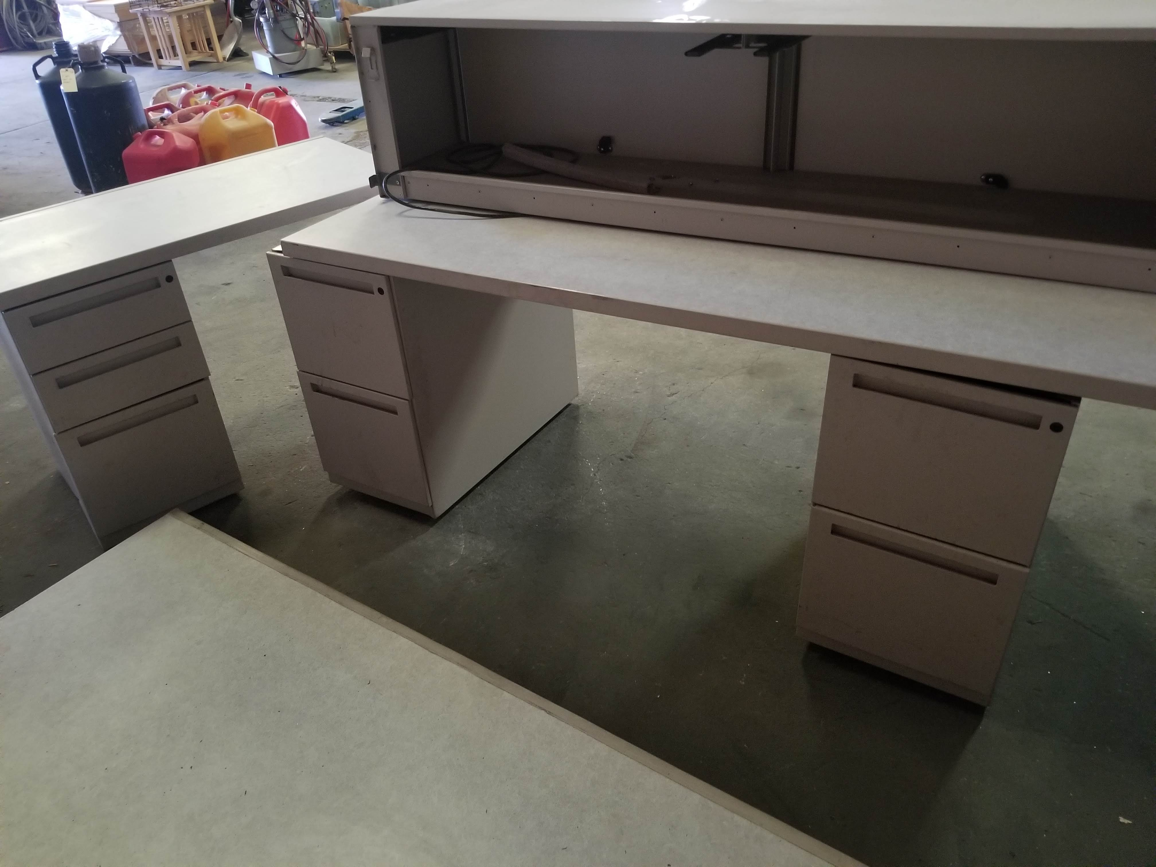 Grey Office Tables with walls & 3 - Grey Filing Cabinets - Image 2 of 7