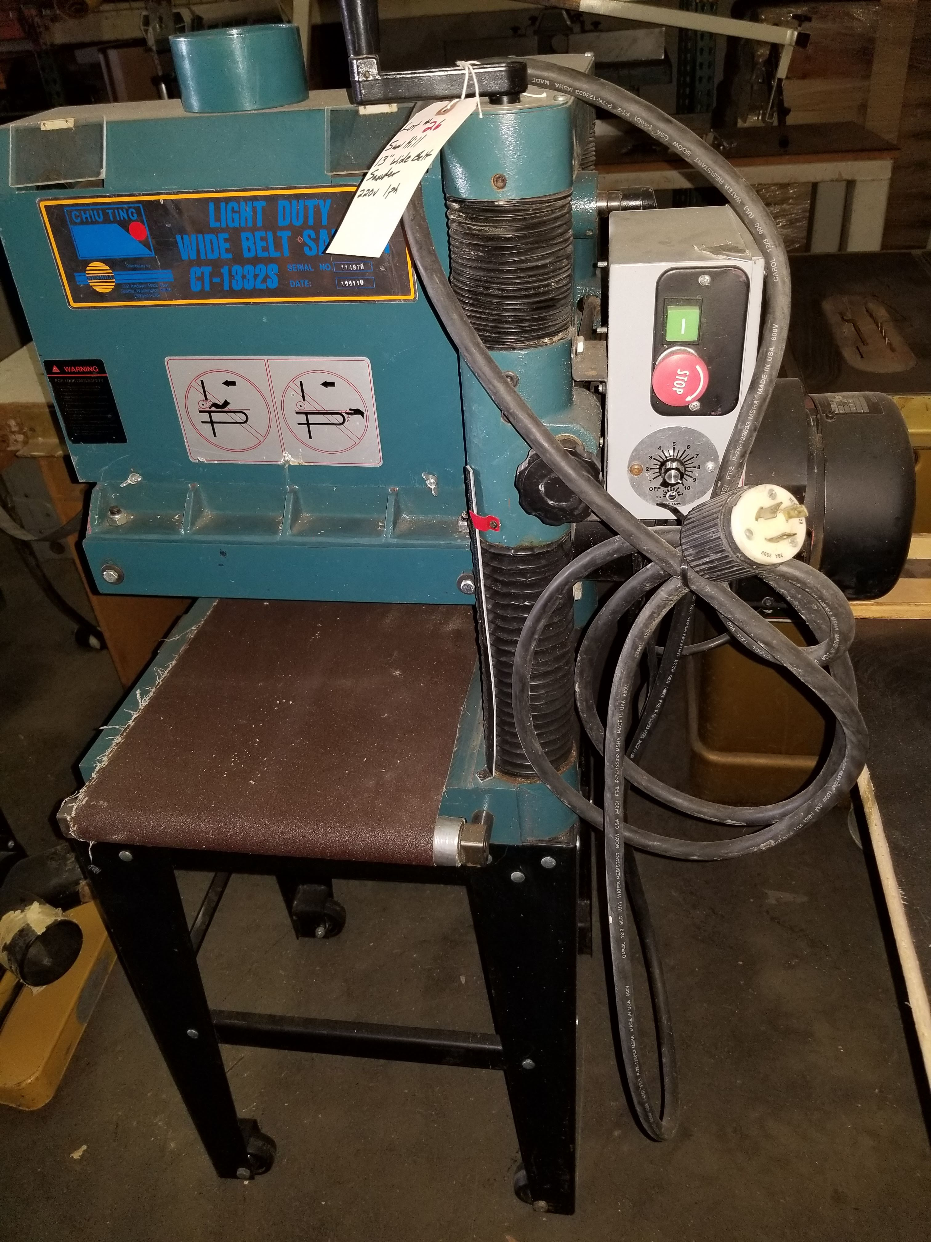 """Sunhill 13"""" Wide Belt Sander, 2Hp 220V 1ph, on stand with wheels. - Image 6 of 7"""