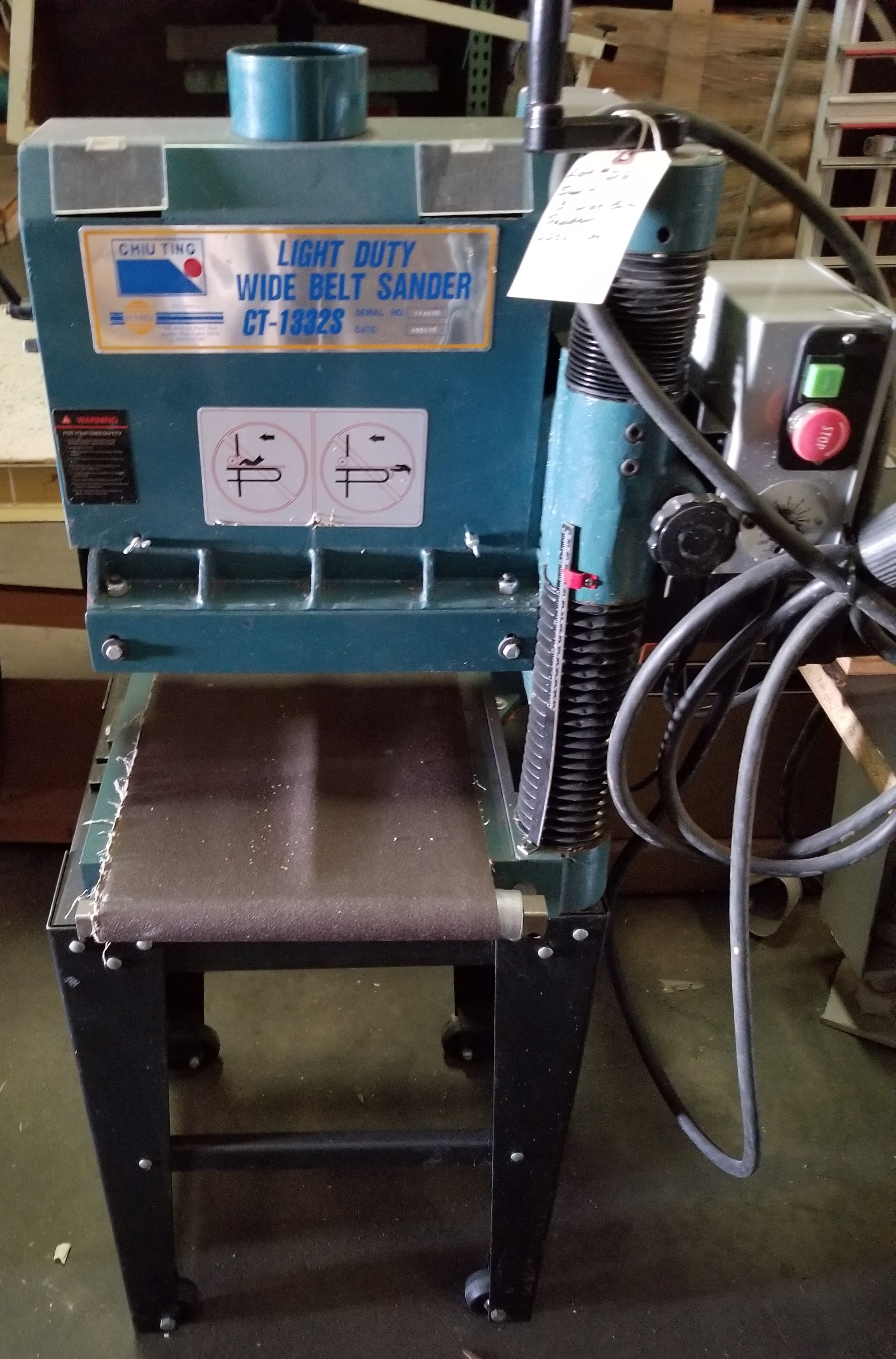 """Sunhill 13"""" Wide Belt Sander, 2Hp 220V 1ph, on stand with wheels."""