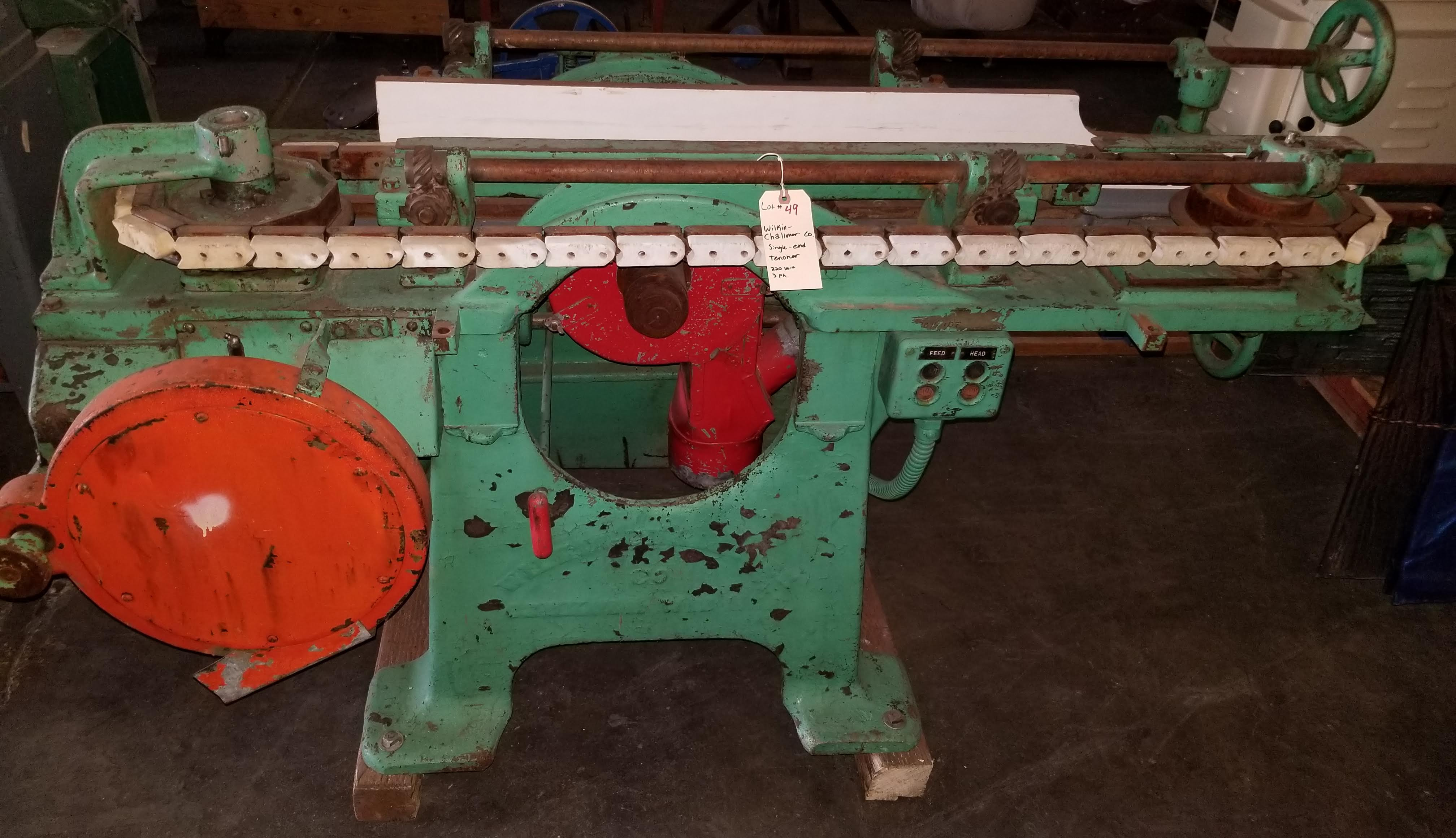 Wilkin-Challoner Single End Panel Raisers #116, Machine is equipped with 5 hp main head motor and