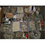 Pallet of Misc. Hardware, Hinges, Screws, Spacers, caster wheels, & More
