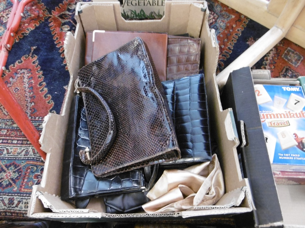 Lot 96 - A box of assorted leather handbags