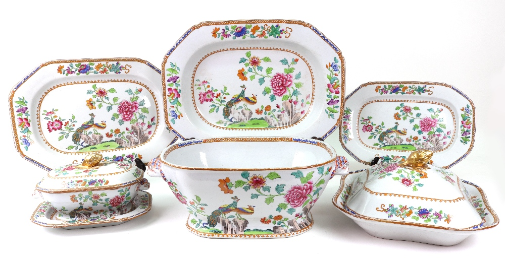 Lot 30 - A Spode stone china peacock pattern part dinner service, a pair of soup tureens, lacking covers,