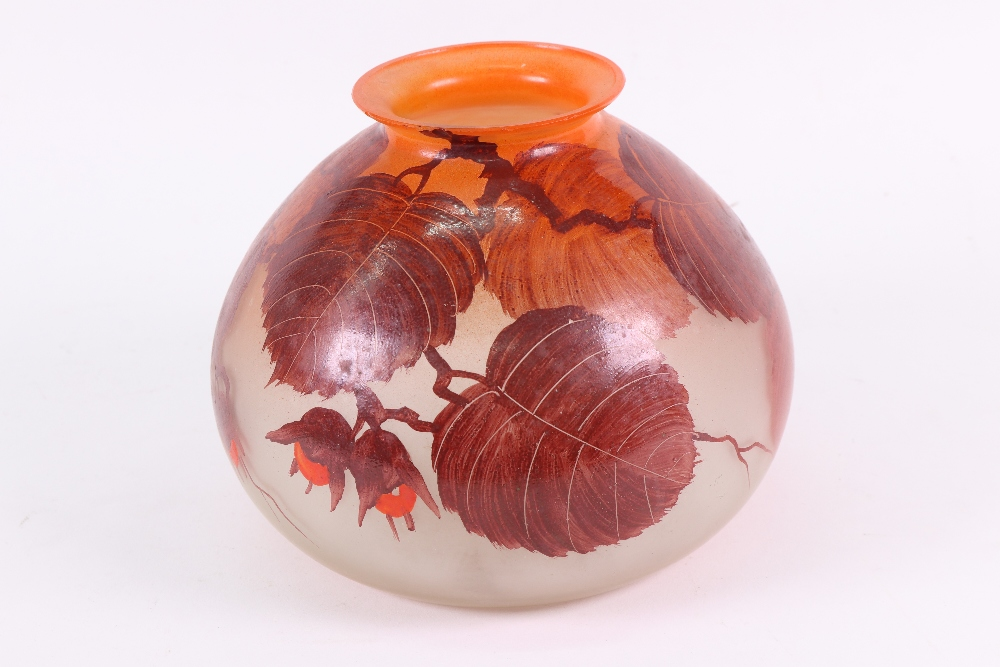 Lot 60 - A Legras glass compressed baluster vase, decorated with flowering branches, 14cm high.