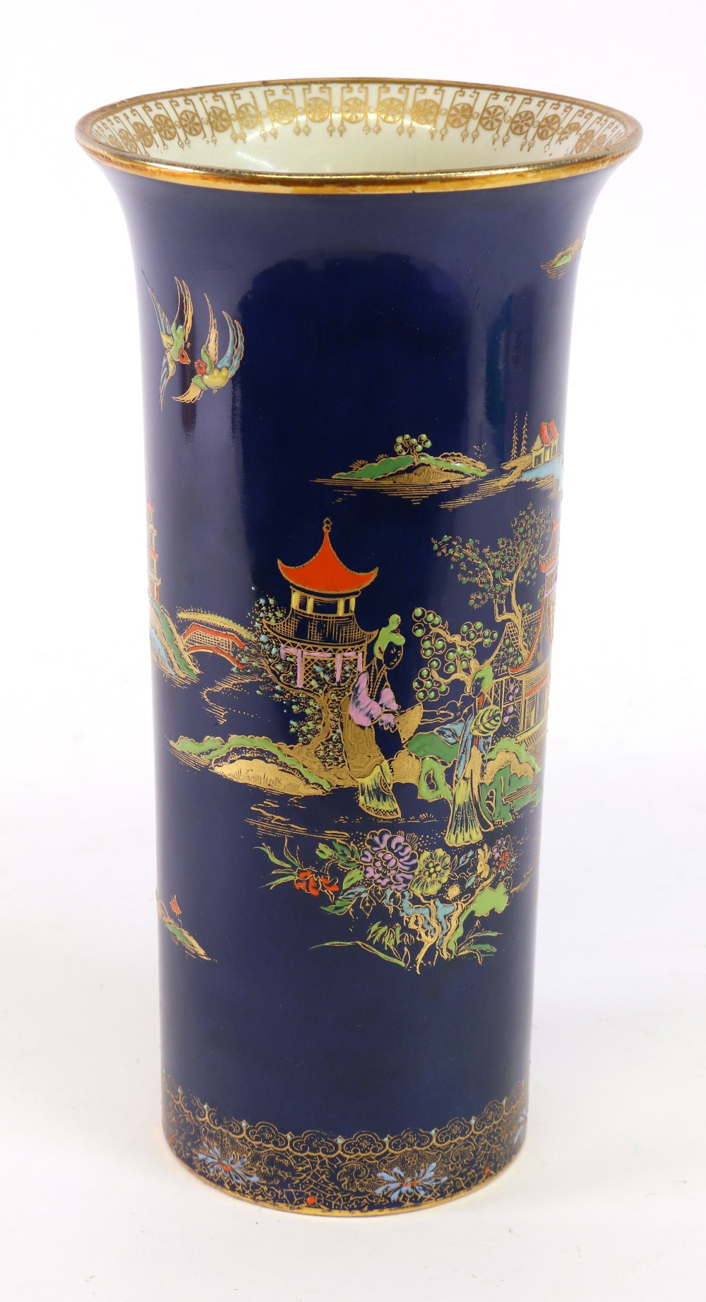 Lot 53 - A Carlton ware chinoiserie decorated vase, in the form of a Chinese brush pot,