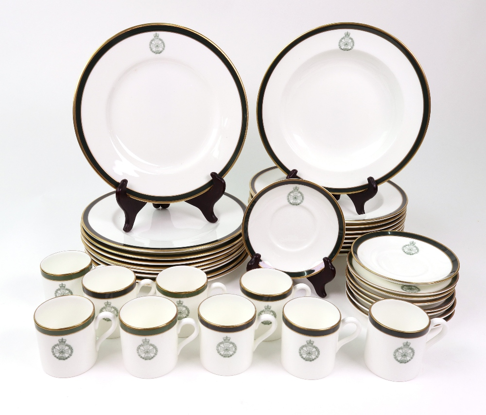 Lot 58 - A Wedgwood part dinner service, with The Royal Green Jackets crest, 9 soup plates, 9 dessert plates,