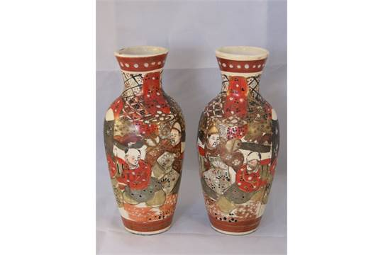 A Pair Of Early 20th Century Japanese Vases 20cm Also A 19th