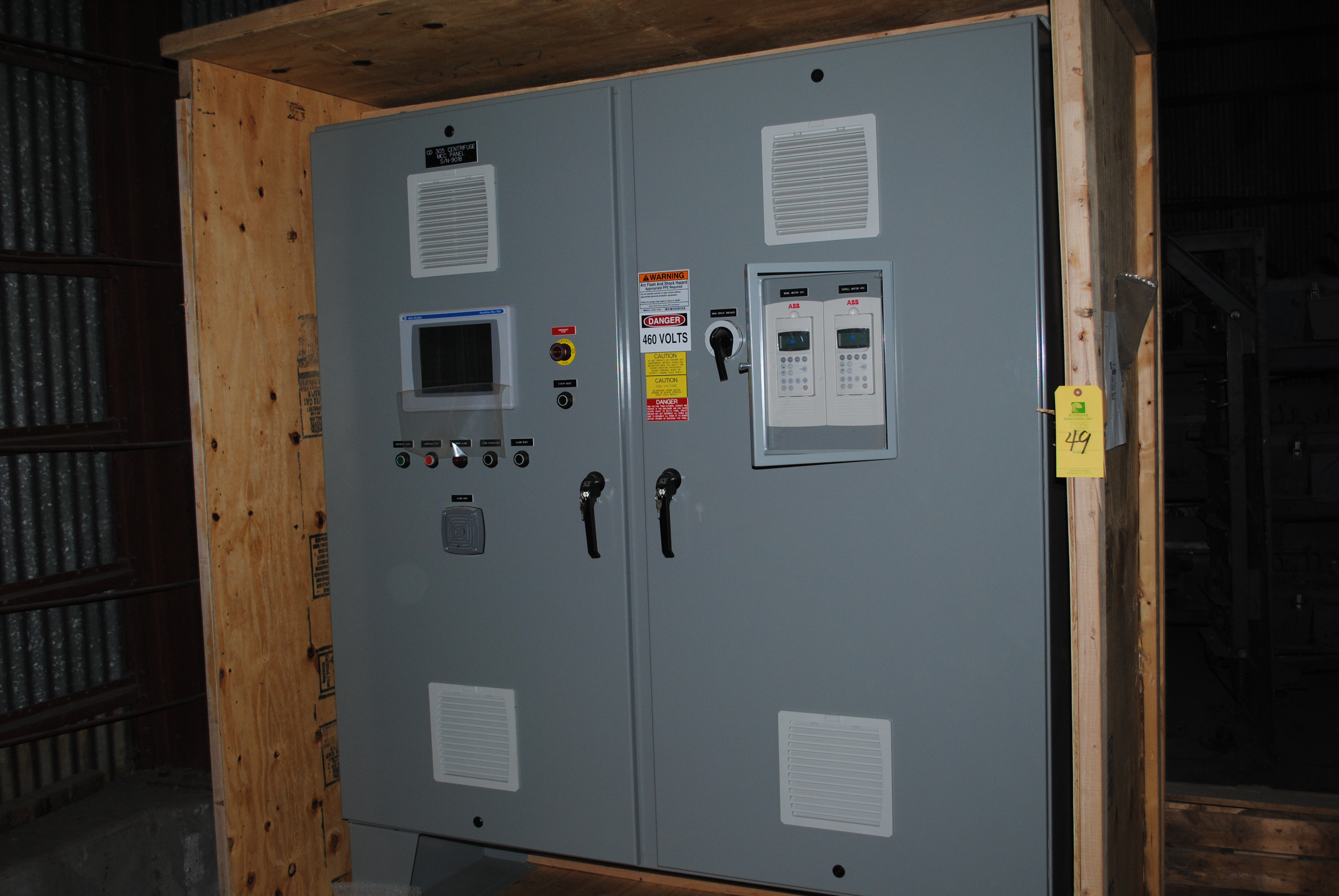MCC control panel with ABB and Allen Bradley components
