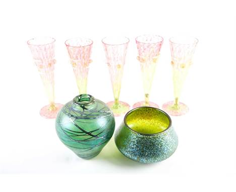 A Loetz iridescent glass bowl, 12.5cm diameter; a Charles Ramsay iridescent glass vase, etched marks, London Glassworks 92, 1