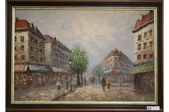 Burnett, oil on canvas, Paris street scene, signed, 59 x 89cm