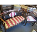 Victorian and later china to include a salon sofa, Chippendale style chair, balloon back and an